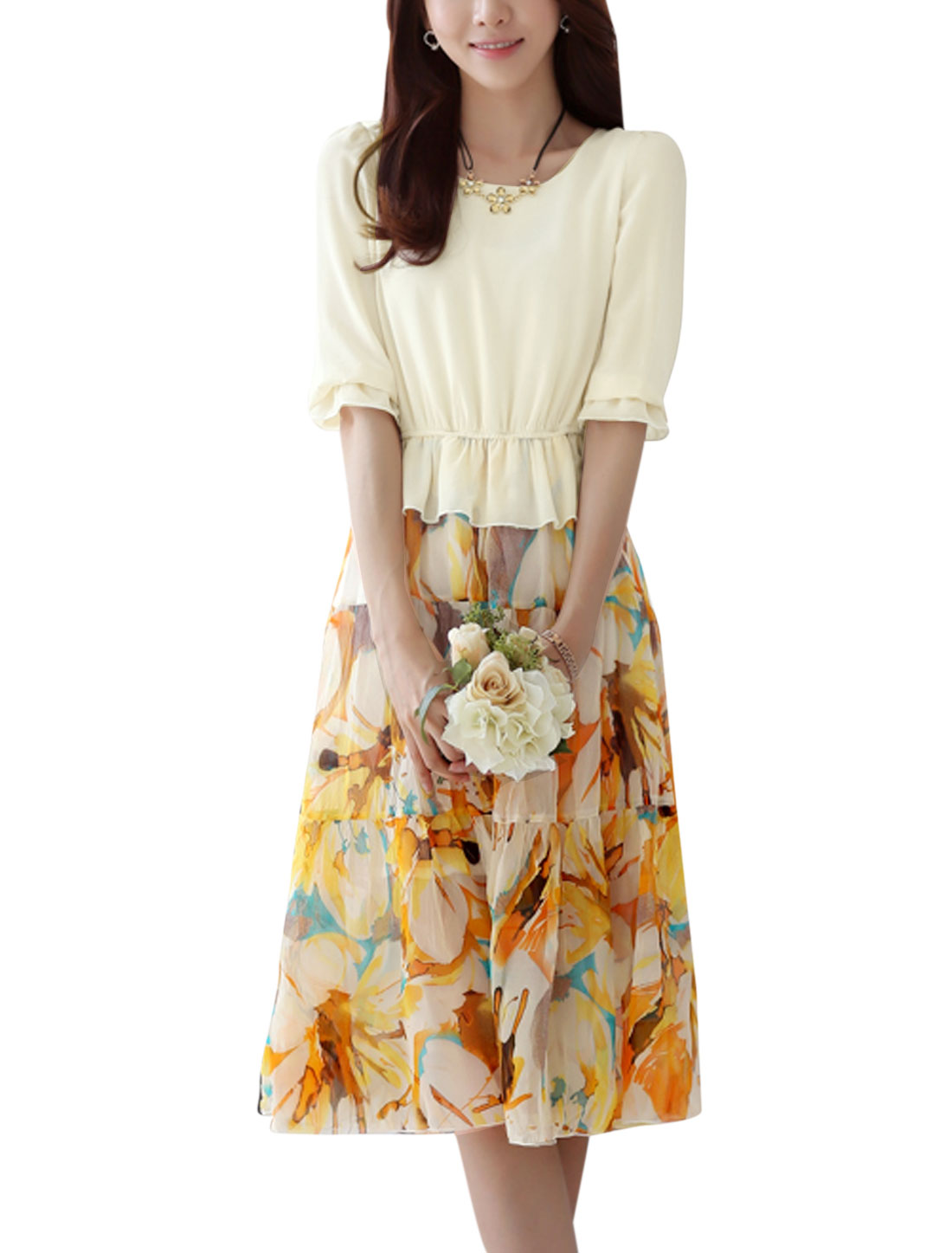 Lady Round Neck 1/2 Sleeve Floral Prints Peasant Style Dress Beige M