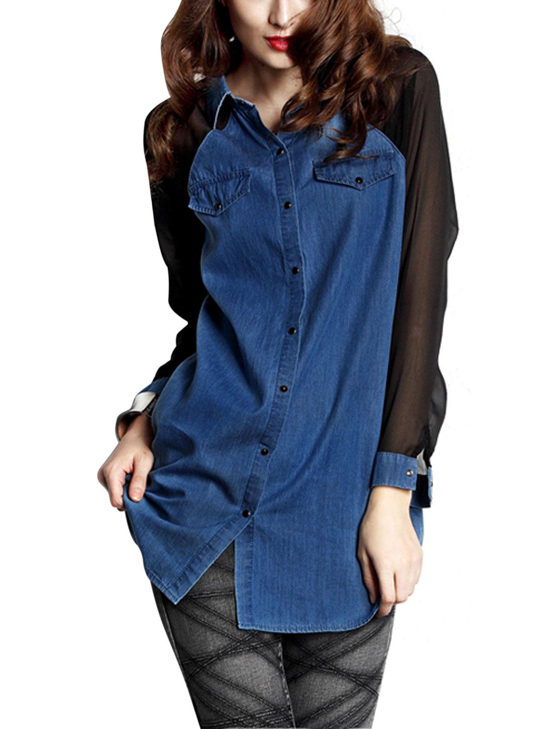 Women Long Raglan Sleeve Single Breasted Thin Denim Shirt Blue S