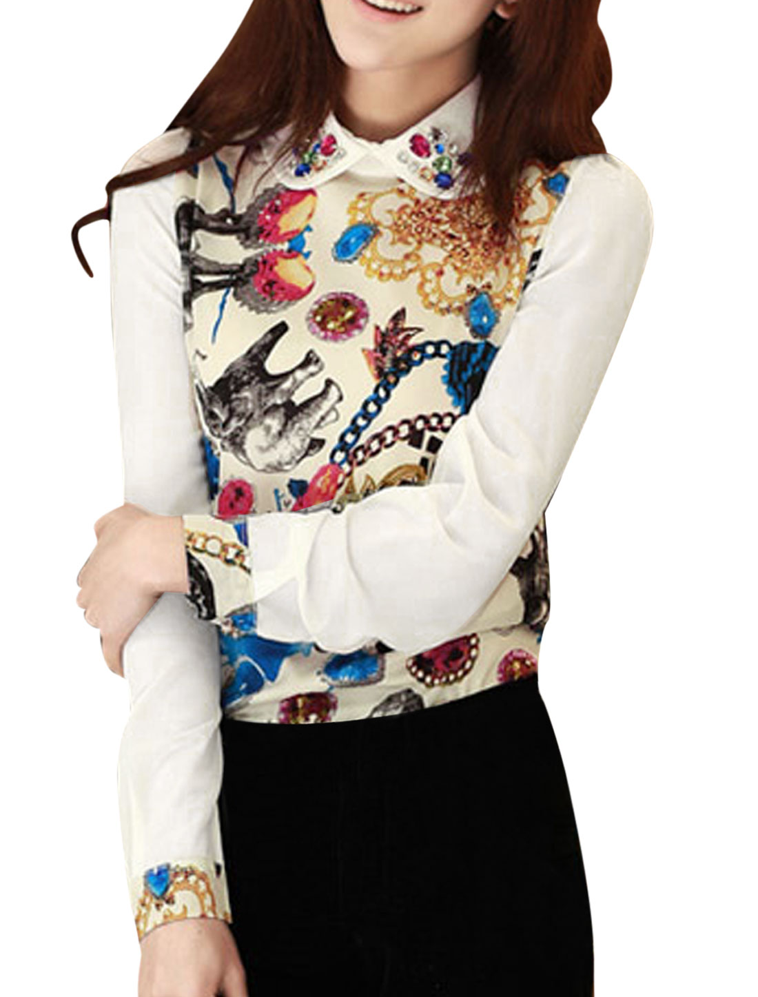 Women Doll Collar Animal Prints Rhinestone Decor Blouse Multicolor S