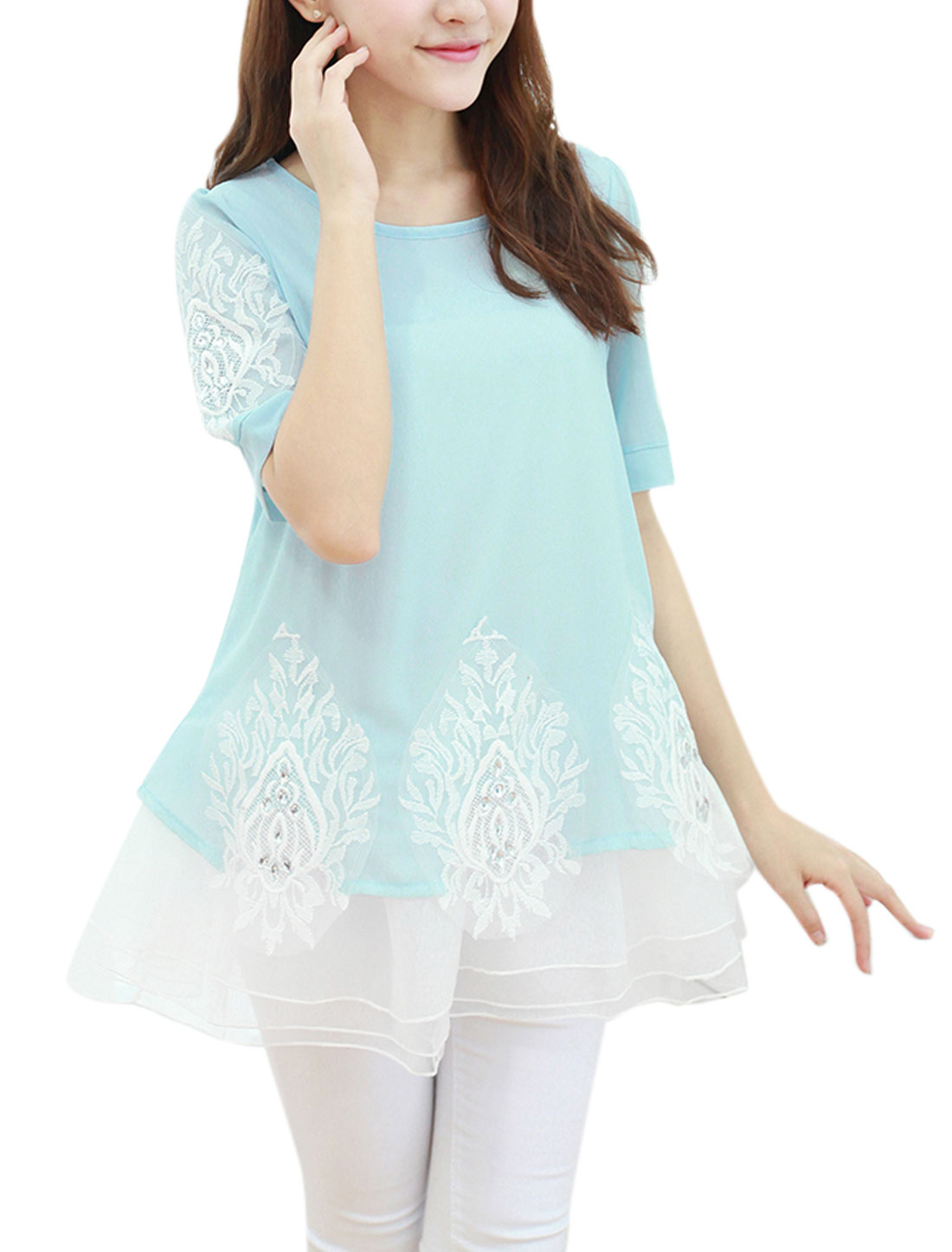 Lady Organza Panel Novelty Embroidery Applique Sweet Chiffon Top Baby Blue M