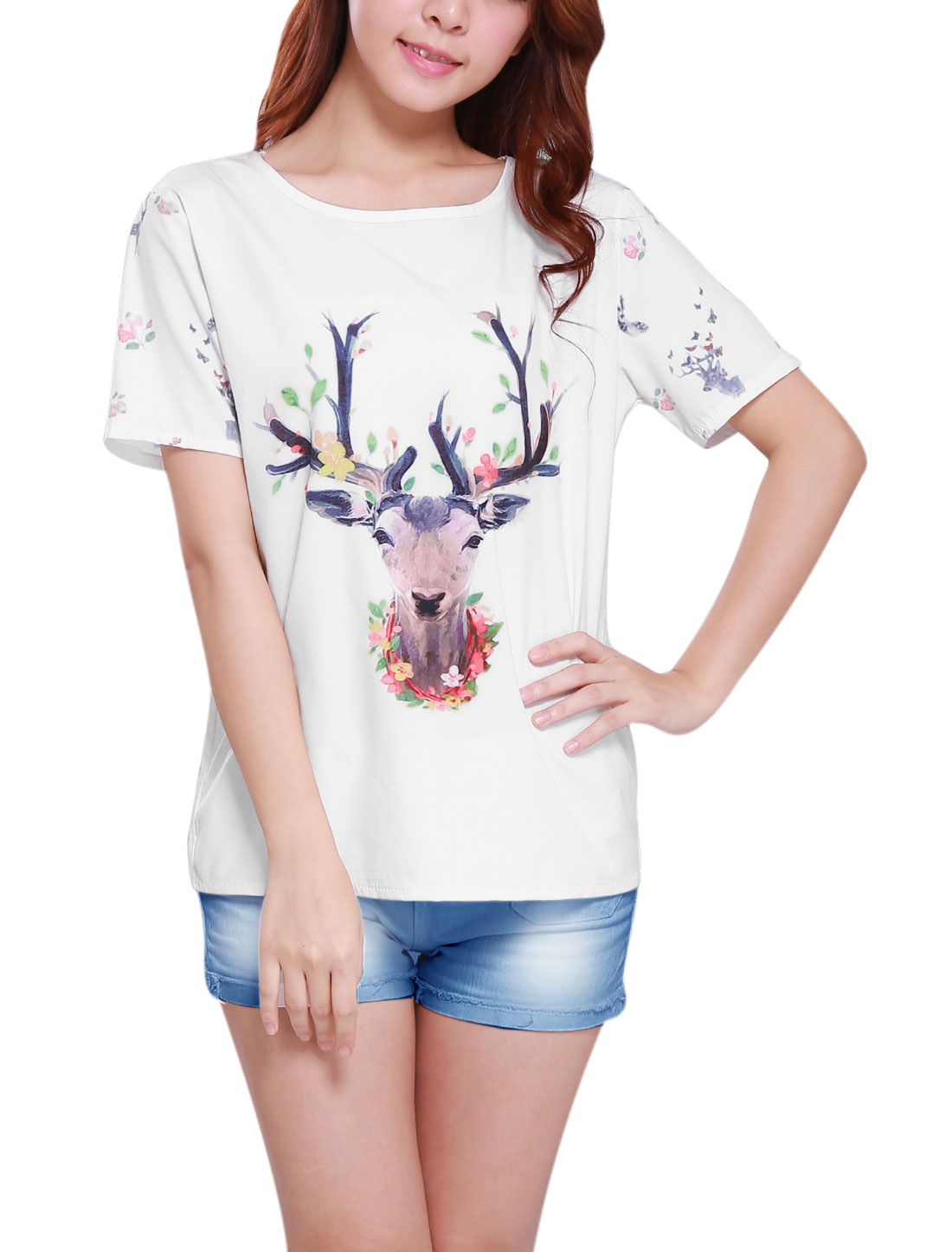 Women Round Neck Short Sleeve Deer Prints Loose Tee White XS