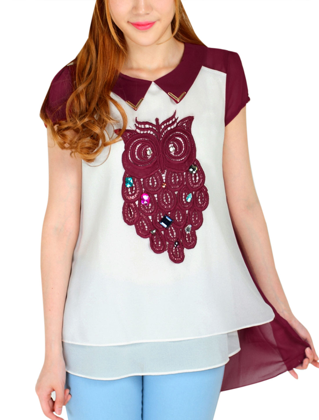 Lady Owl Applique Rhinestone Decor Tunic Top Burgundy White M