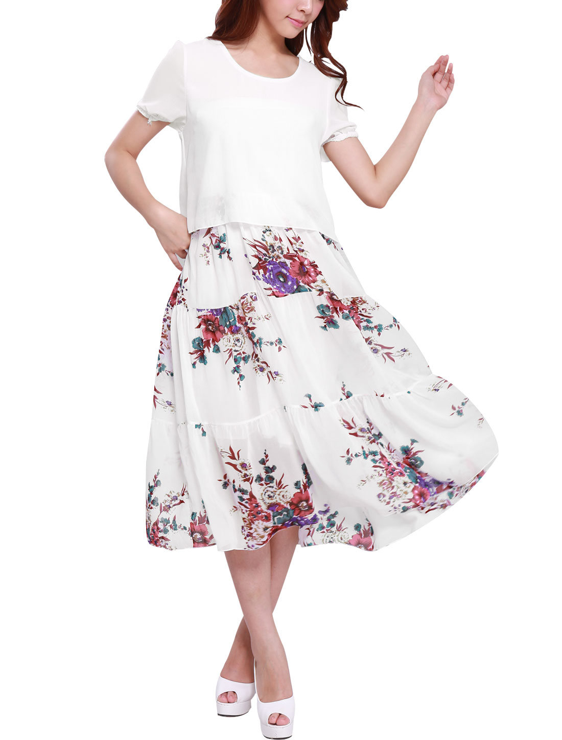 Lady Round Neck Short Sleeve Floral Prints Peasant Style Dress White L