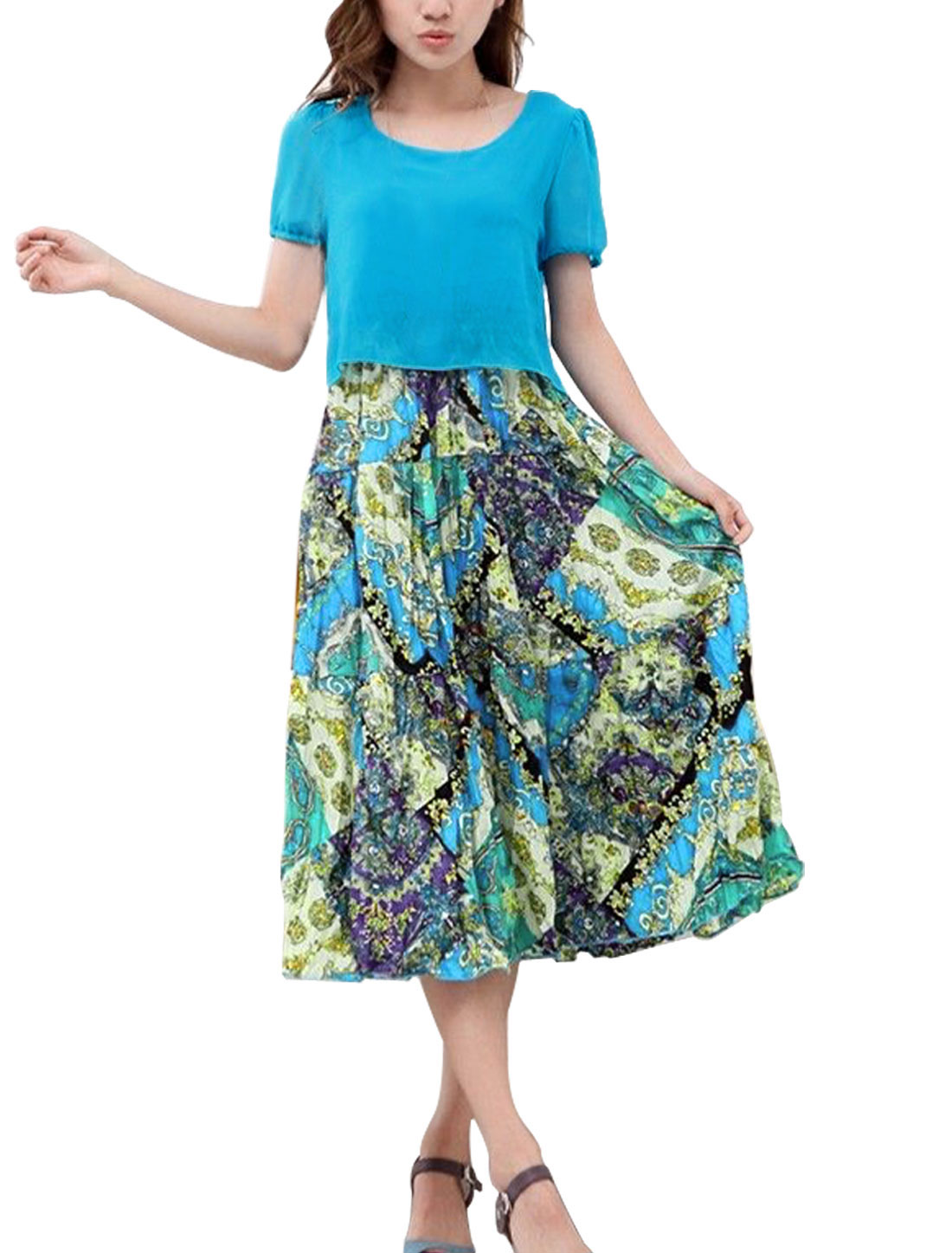Lady Round Neck Novelty Prints Peasant Style Dress Blue L