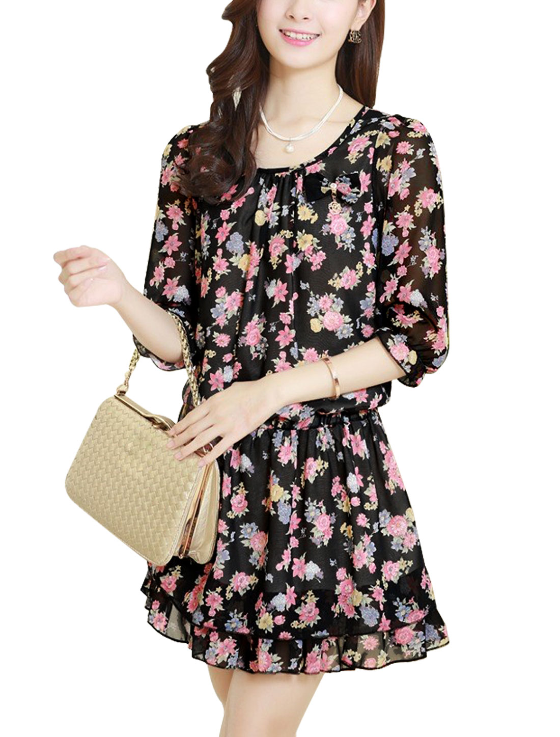 Lady Half Sleeve Floral Prints Lining Dress Black Fuchsia M
