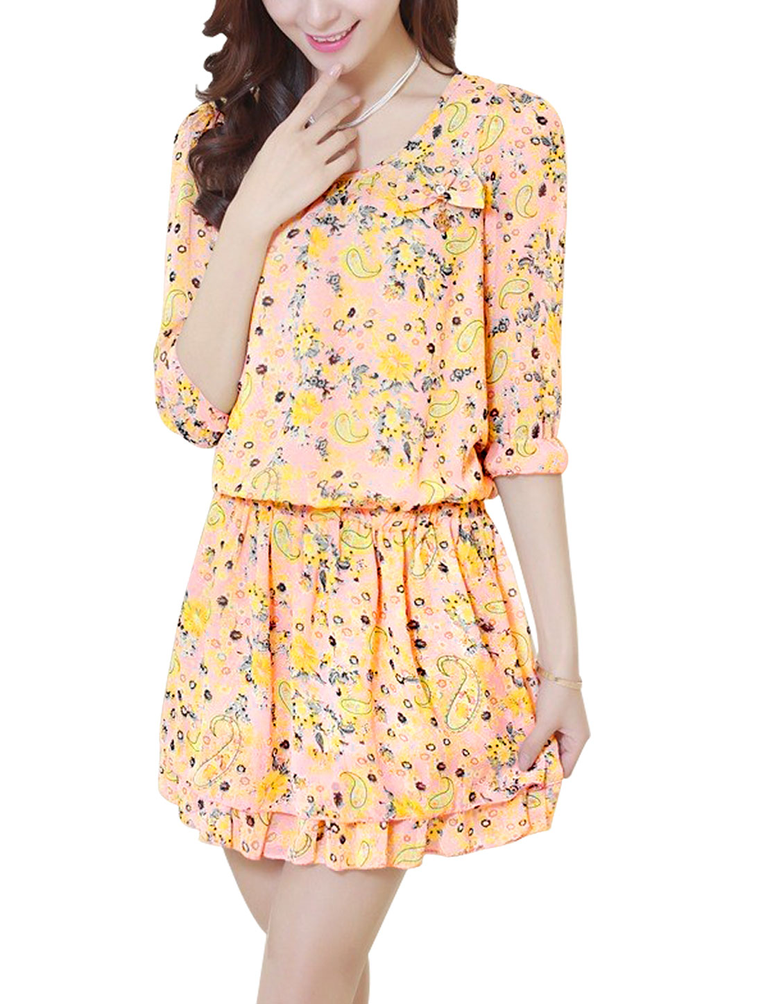 Lady Round Neck Elbow Sleeve Paisleys Prints Lining Dress Yellow Salmon M