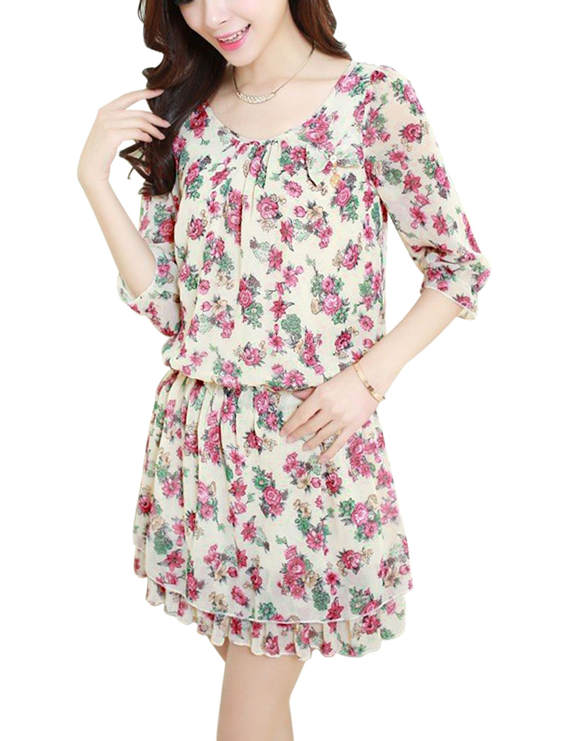 Lady Round Neck Half Sleeve Floral Prints Lining Dress Beige Fuchsia M