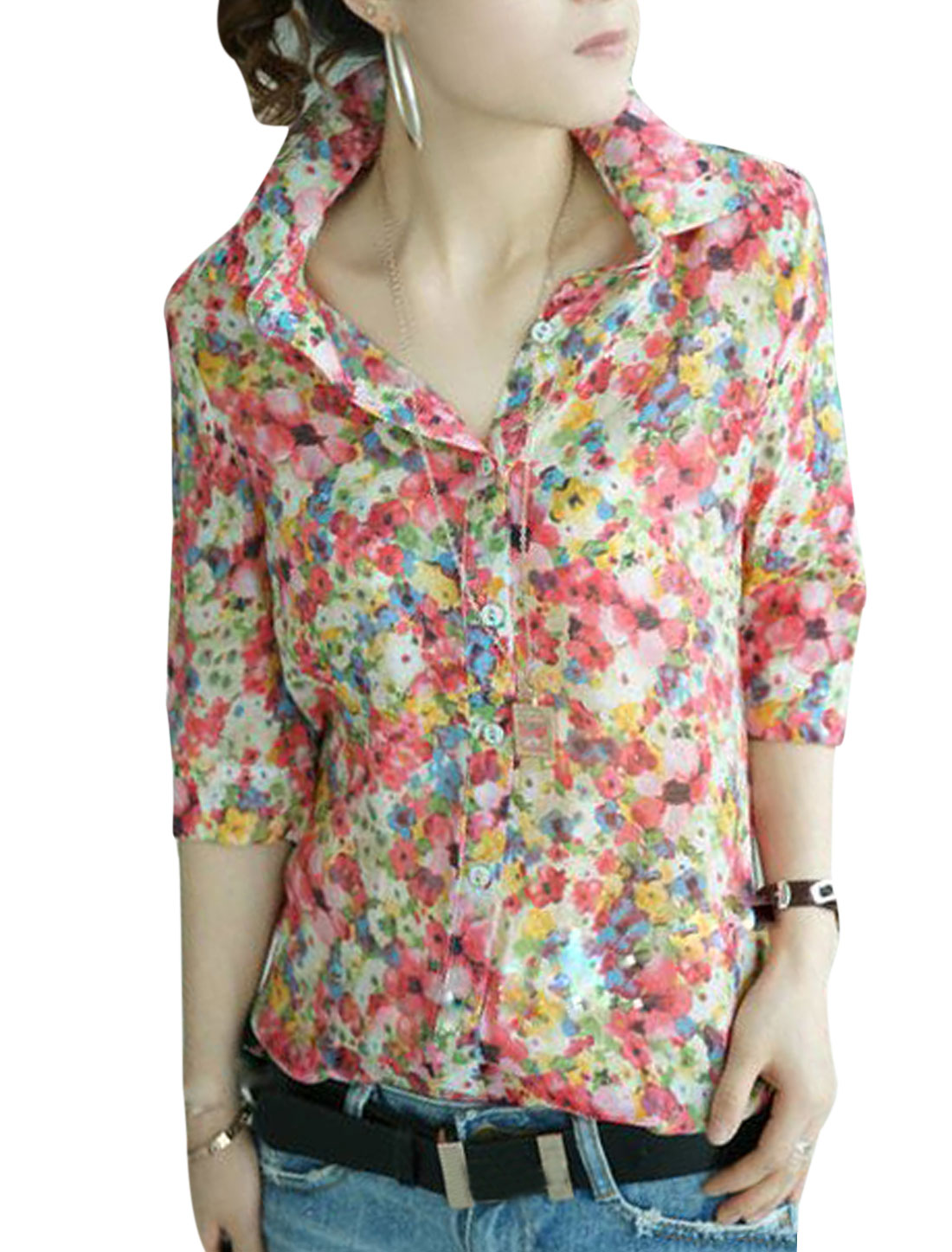 Women 3/4 Sleeve Single Breasted Floral Prints Fuchsia Green M
