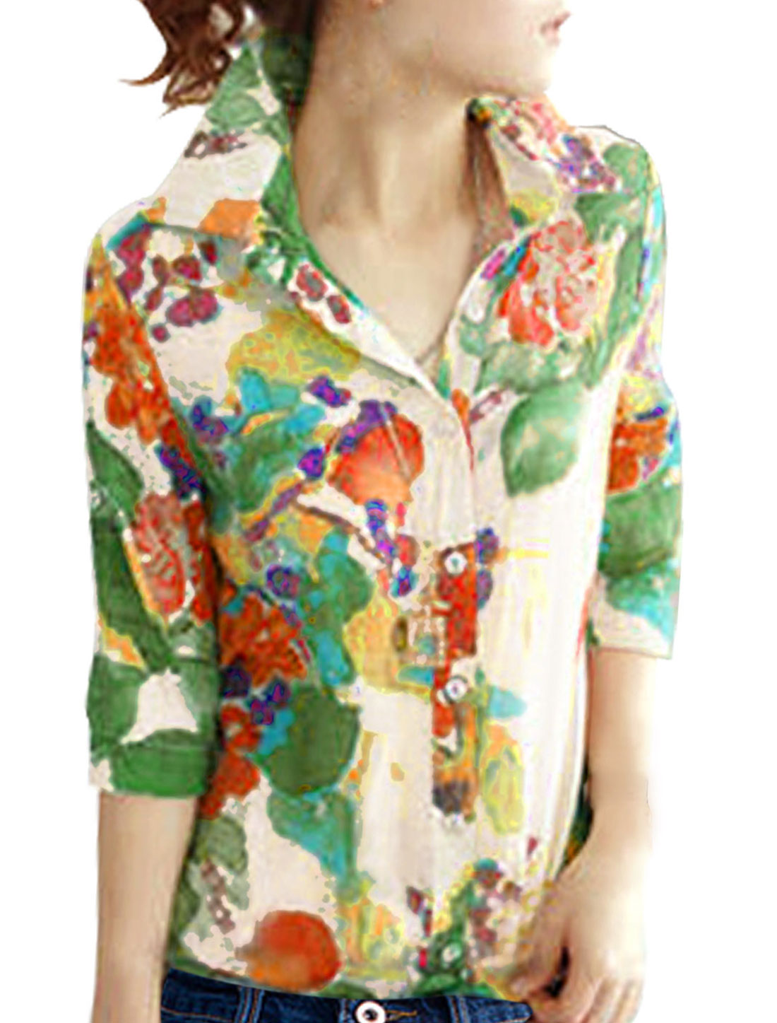 Lady 3/4 Sleeve Button Closure Floral Prints Semi Sheer Shirt Multicolor M
