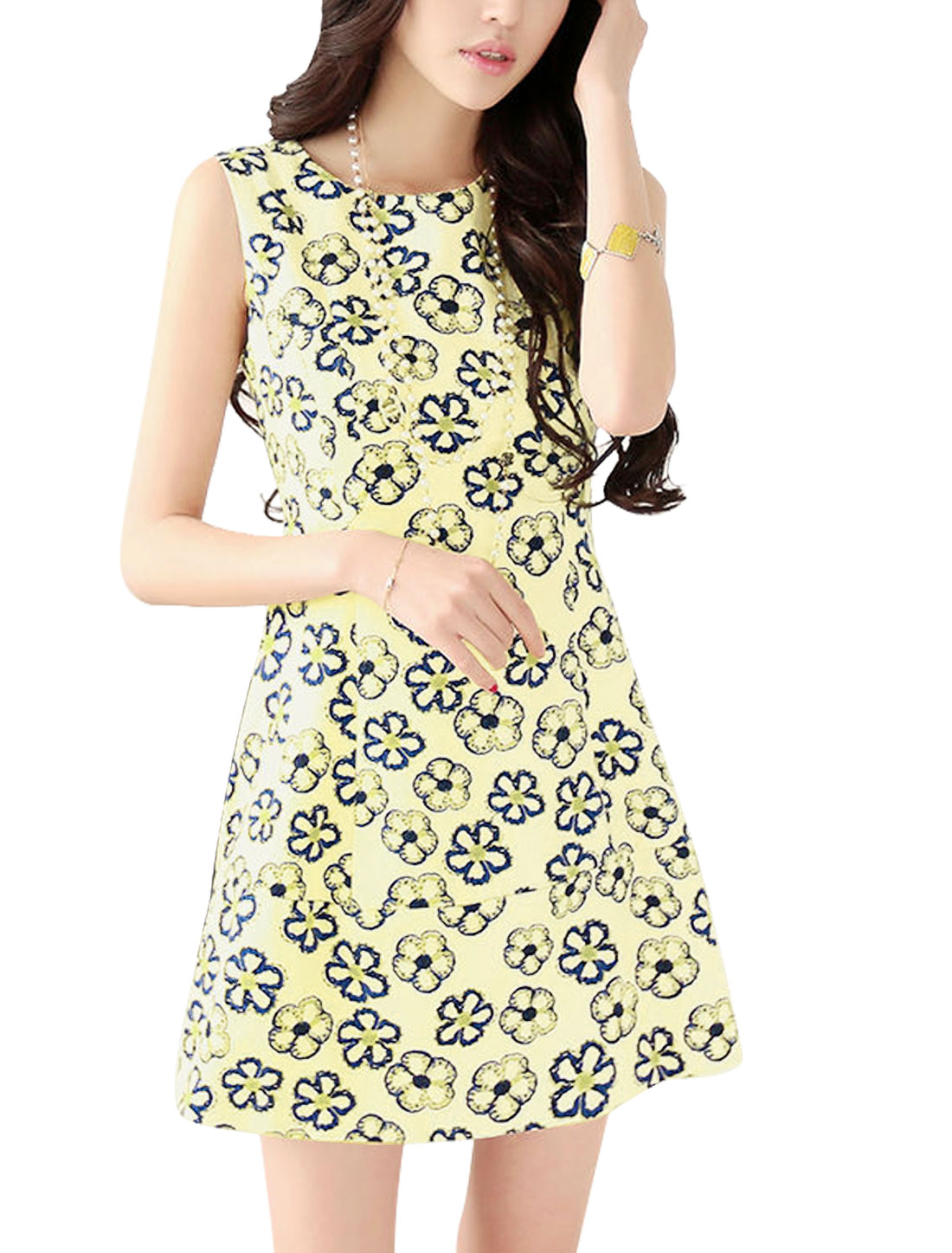 Lady Sleeveless Floral Prints Concealed Zipper Back Lining Dress Beige L