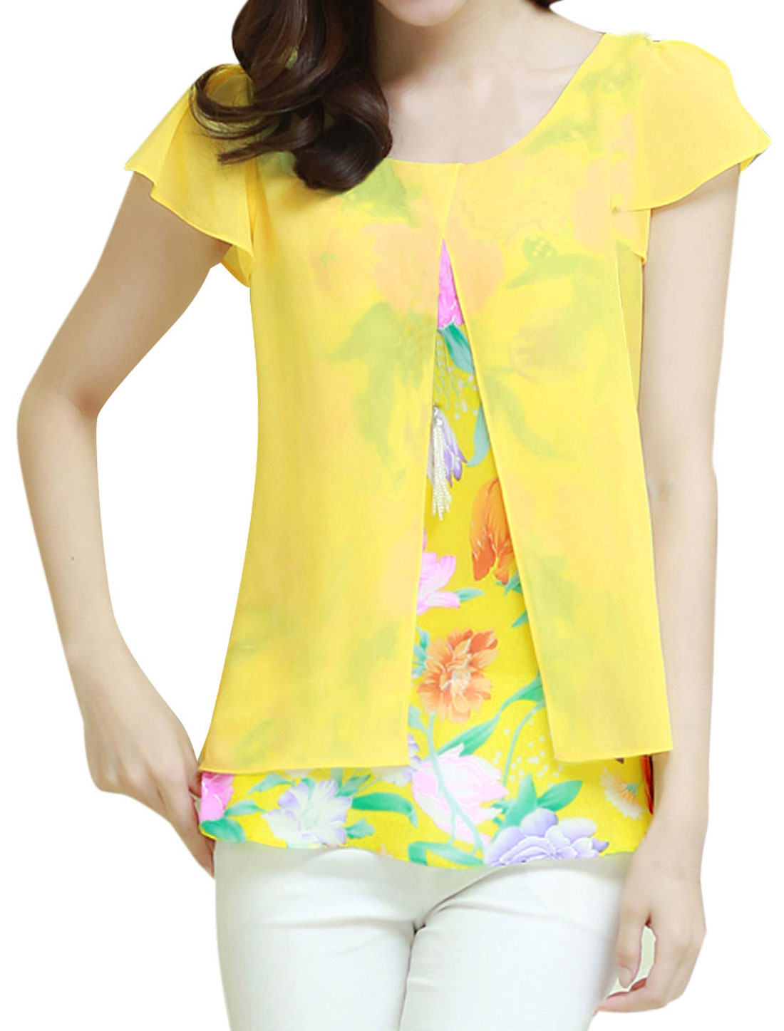 Lady Round Neck Cap Sleeve Splicing Floral Print Necklace Chiffon Blouse Yellow M
