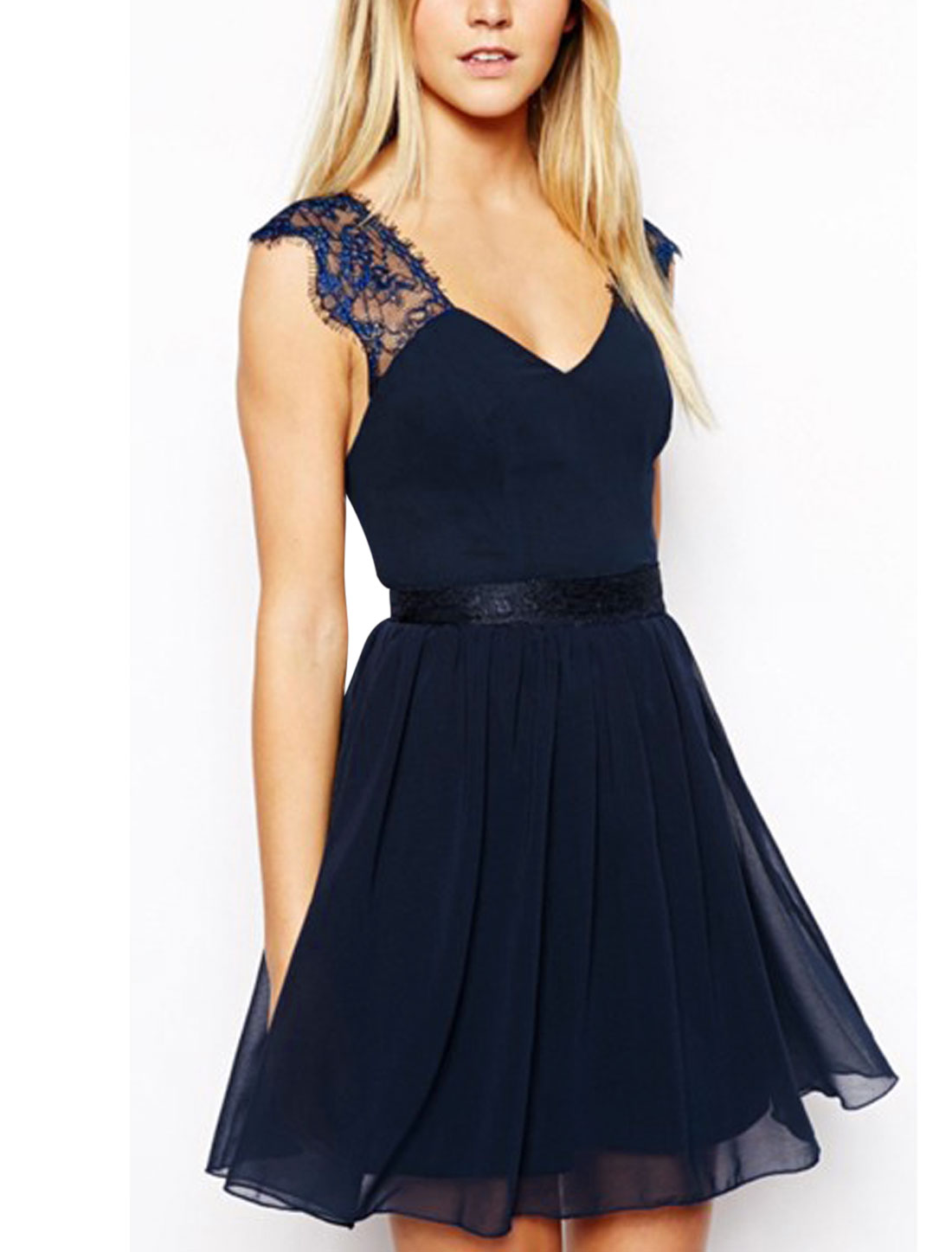 Lady Deep V Neck Backless Zipper Back Skater Dress Navy Blue M