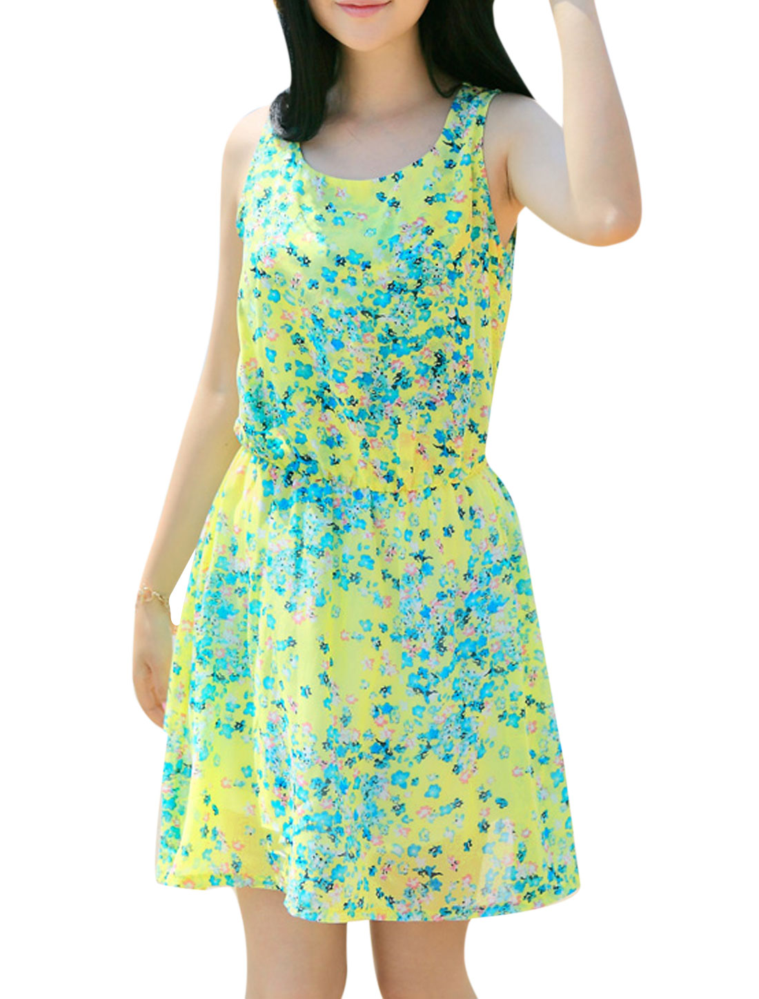 Lady Elastic Waist Floral Prints Lining Skater Dress Green Yellow S