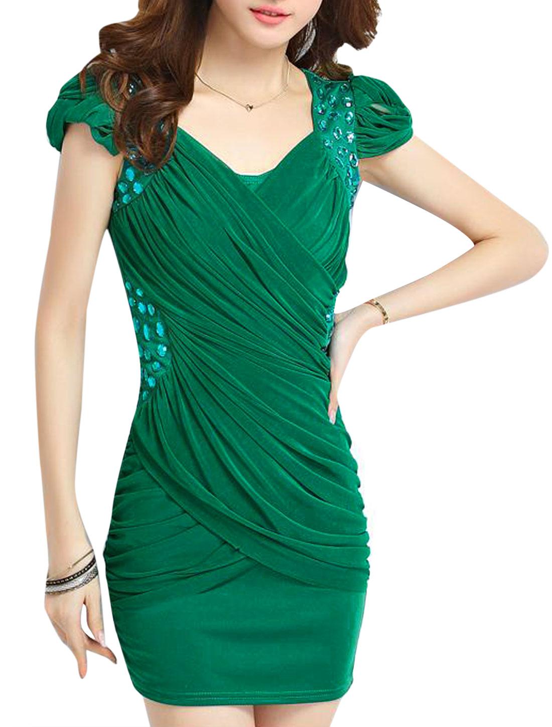 Lady Cap Sleeve Fake Crystal Decor Mesh Panel Bodycon Dress Dark Green M