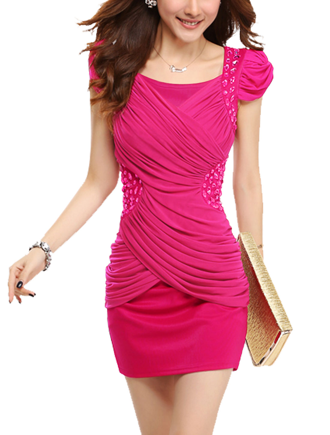 Lady's Mesh Panel Short Cap Sleeve Above Knee Bodycon Dress Fuchsia M