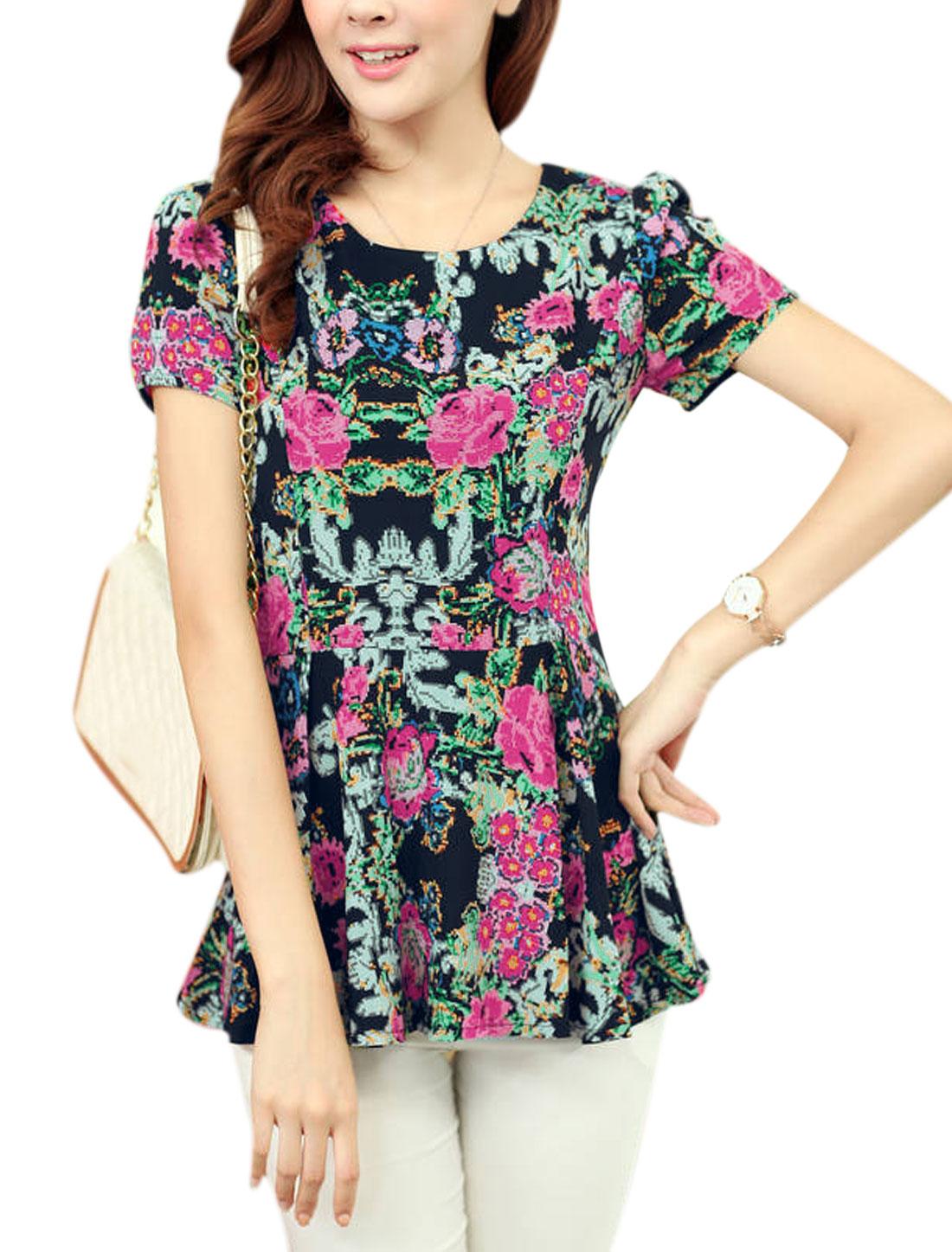 Women's Round Neck Short Sleeve Floral Print Chiffon Peplum Blouse Black M