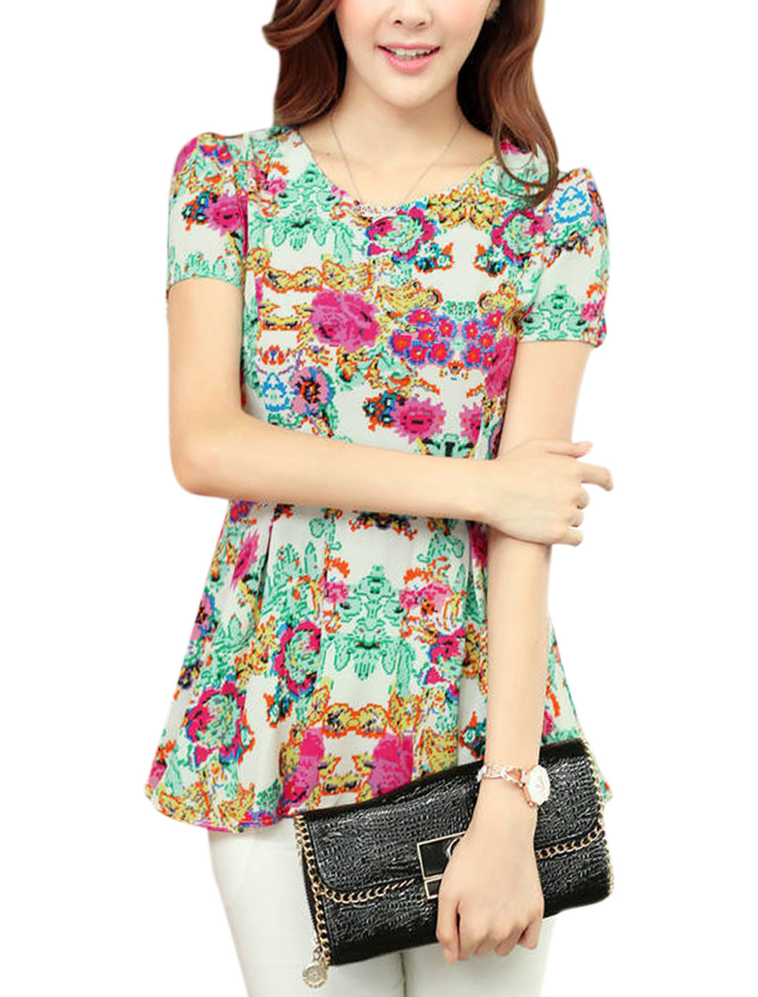 Lady Floral Print Side Zipper Round Neck Short Sleeve Chiffon Peplum Blouse Beige M