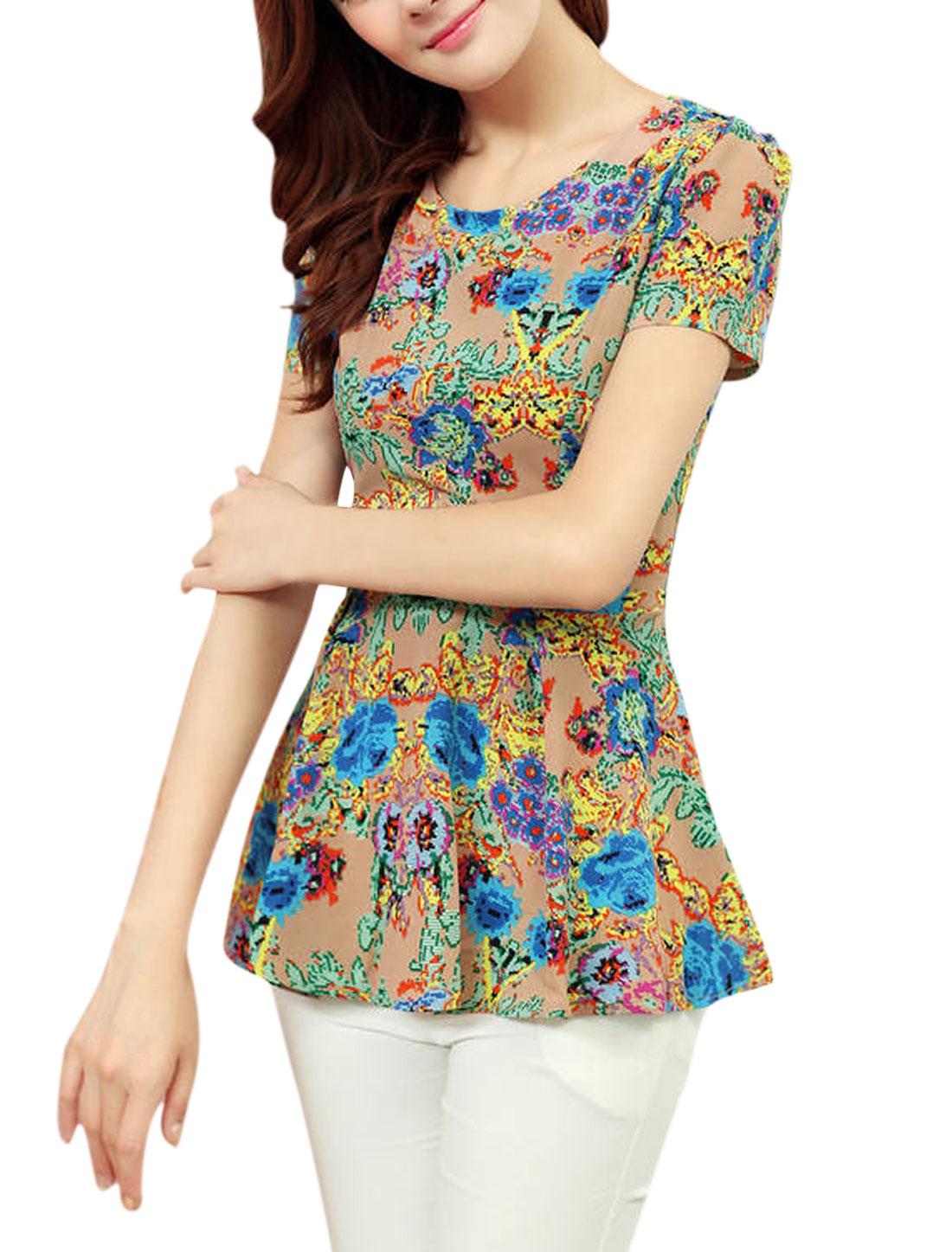 Woman's Short Sleeve Summer Fit Hidden Side Zipper Chiffon Blouse Apricot M