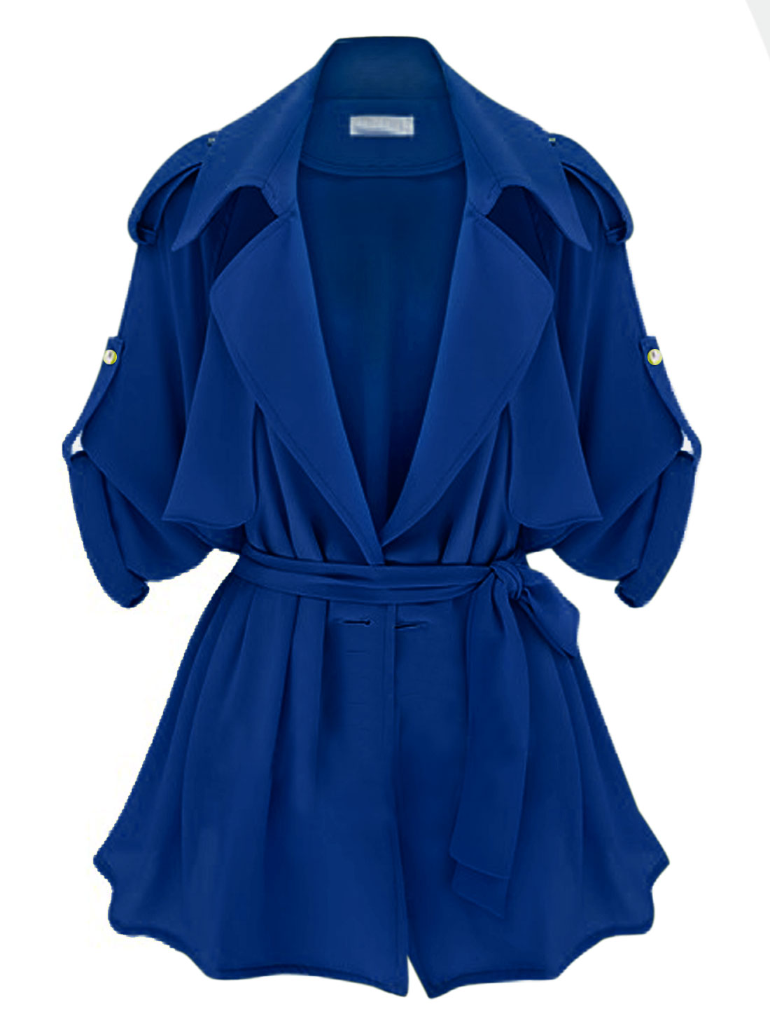 Lady Notched Lapel Long Raglan Sleeve Cape Style Fashion Thin Jacket Royal Blue S