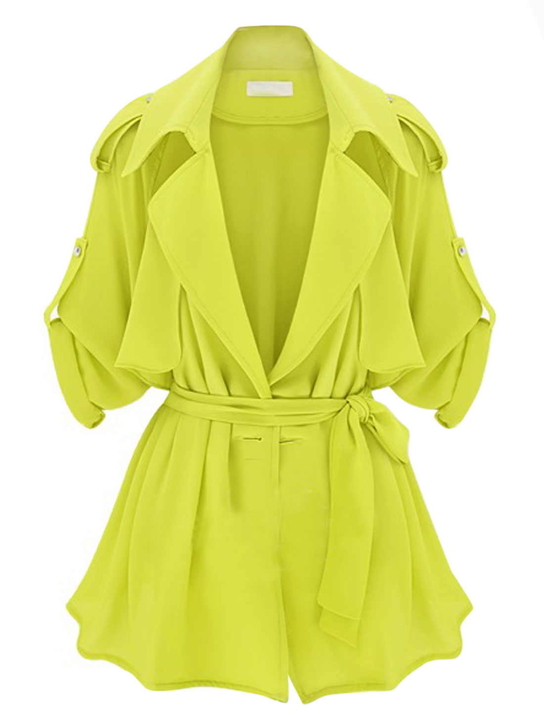 Lady Button-tab Epaulets Long Raglan Sleeve Fashion Thin Jacket Lime Yellow S