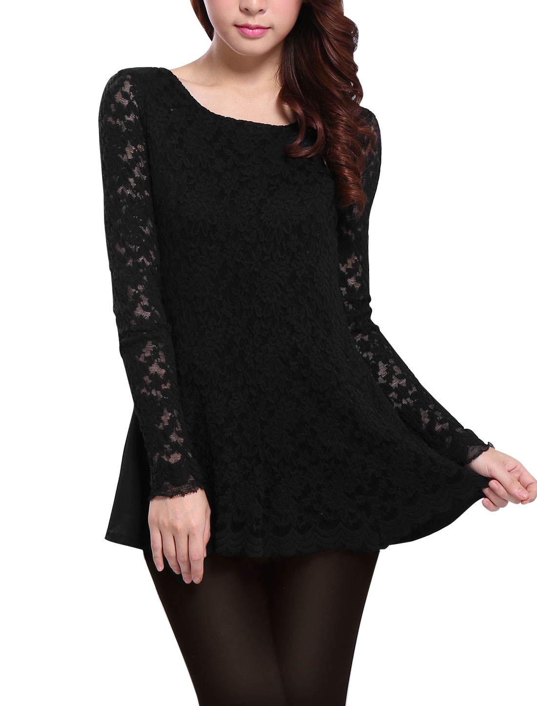 Lady Round Neck Long Sleeve Floral Embroidery Lining Blouse Solid Black M