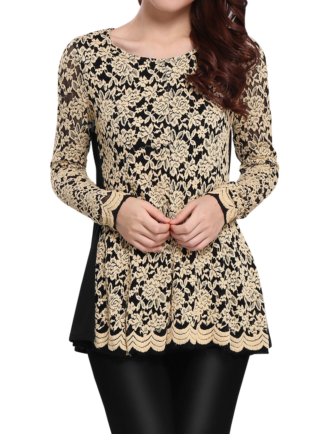 Lady Round Neck Floral Embroidery Lining Blouse Khaki M