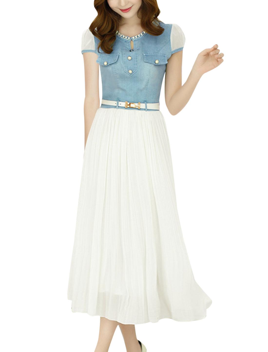 Lady Cap Sleeve Side Zip Denim Chiffon Mid Calf Pleated Dress White Blue M