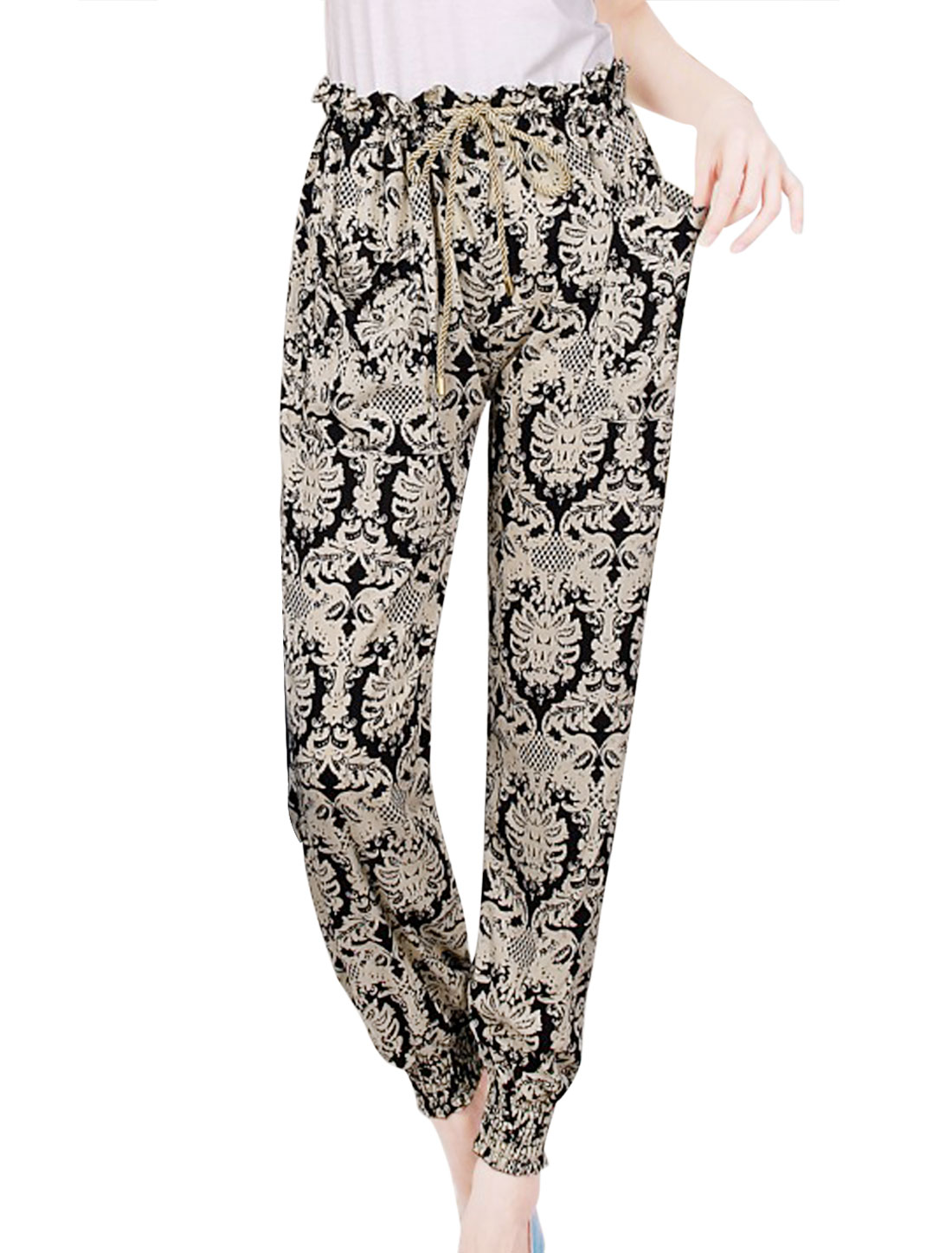 Ladies Drawstring Waist Allover Spider Pattern Jogger Pants Beige Black XS
