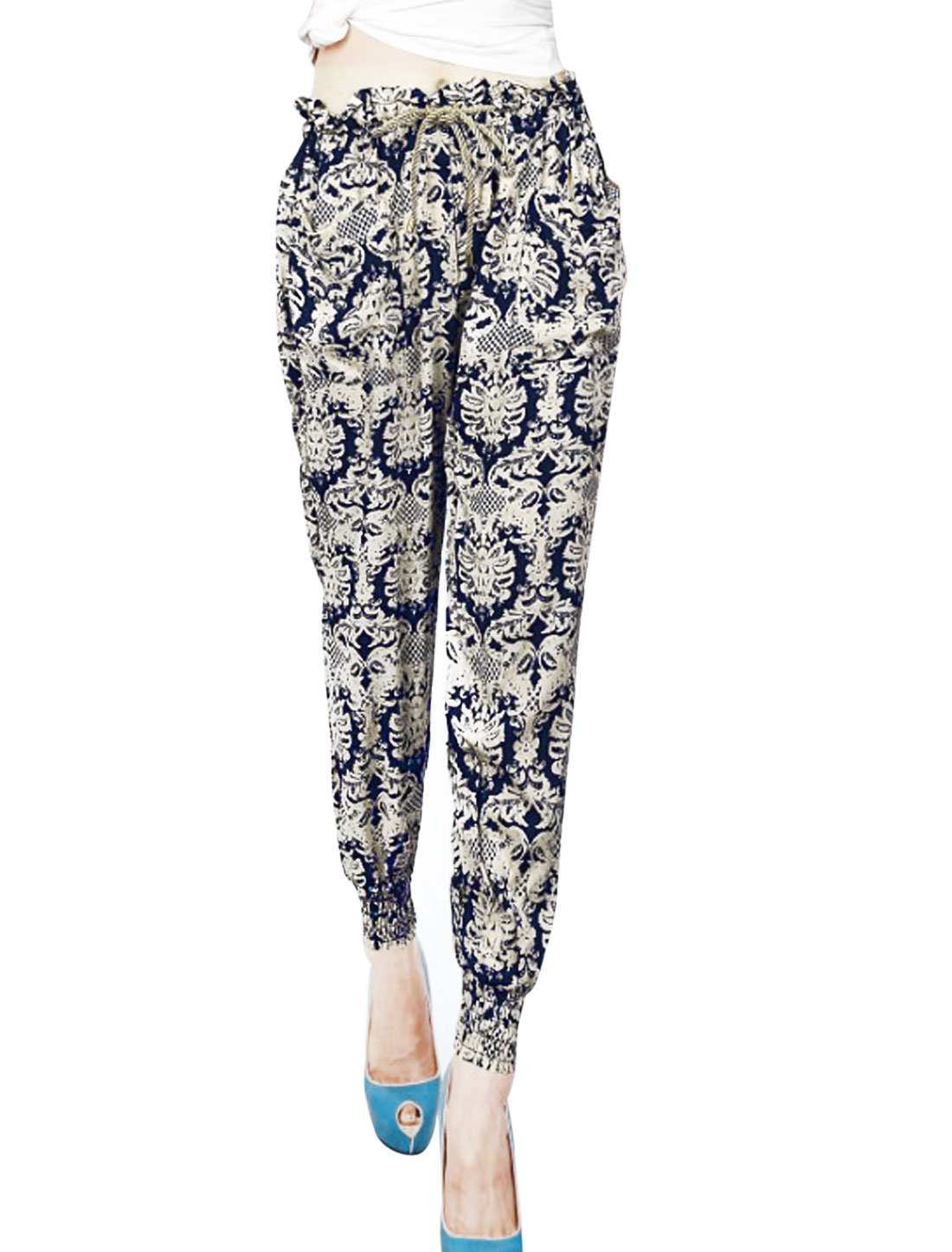 Woman Elastic Waist Cuffs Allover Spider Pattern Jogger Pants Beige Navy Blue XS