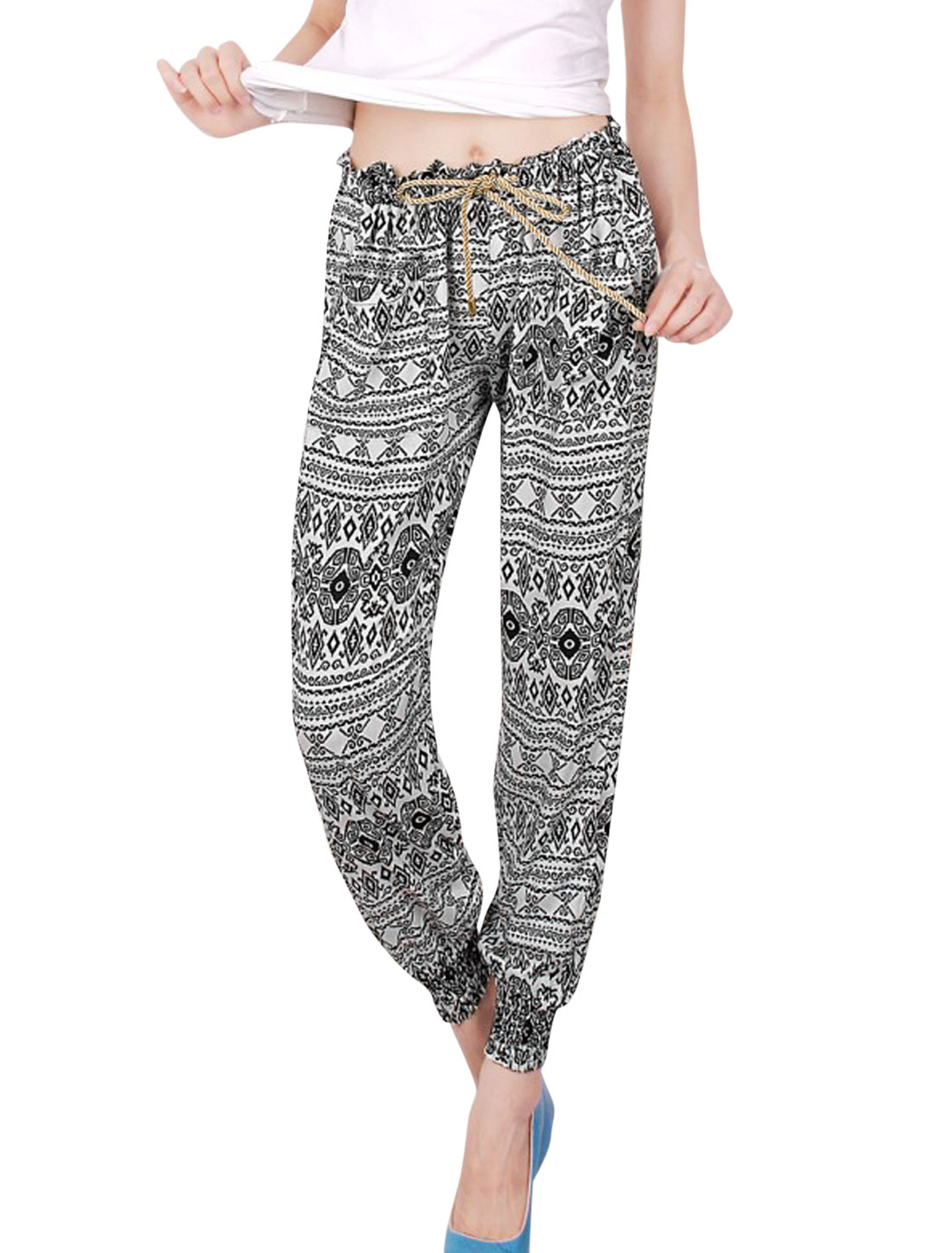 Woman's Allover Geometric Pattern Elastic Drawstring Waist Jogger Pants Black White XS