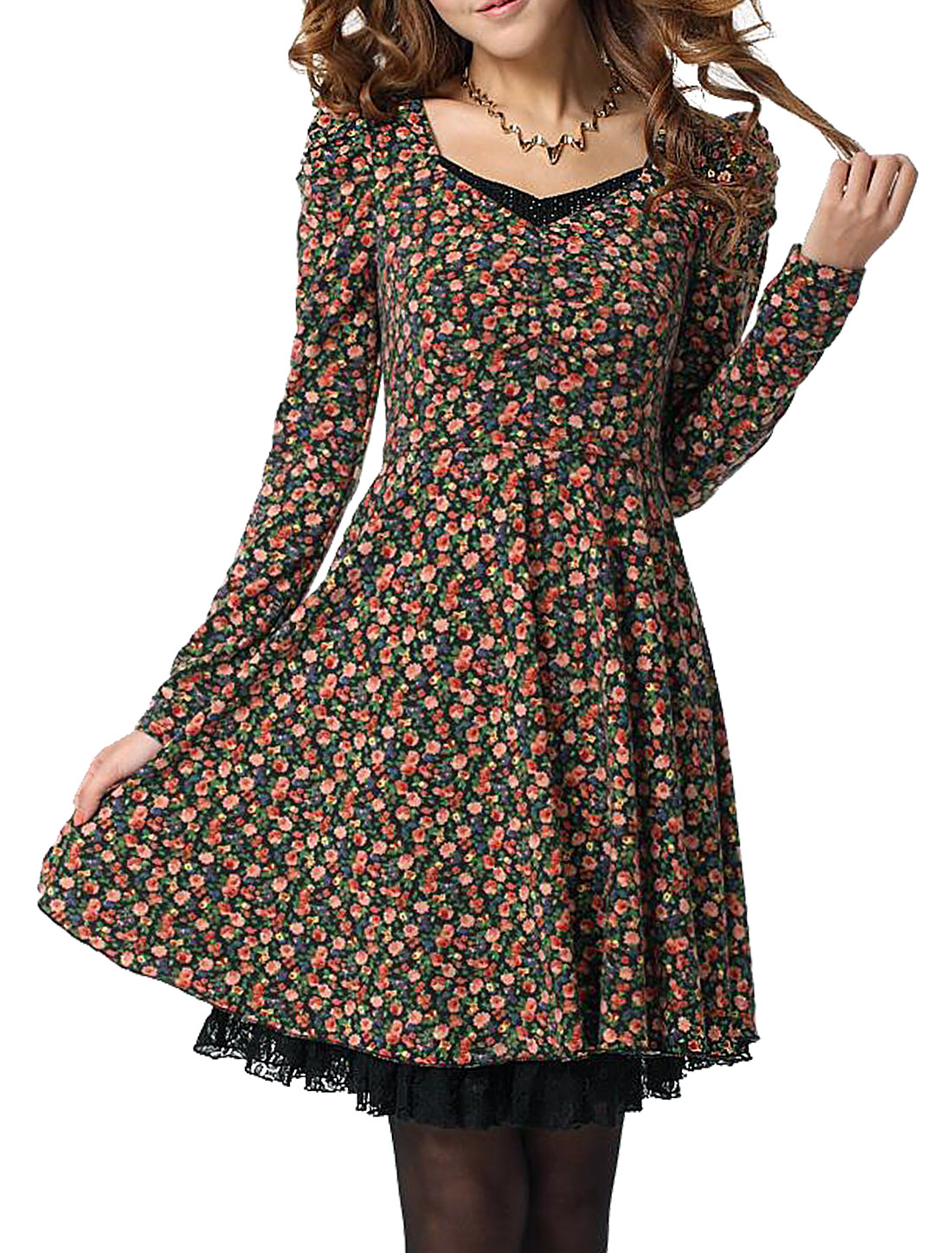 Lady V Neck Long Puff Sleeve Floral Prints Zipped Side Dress Cognac Green M