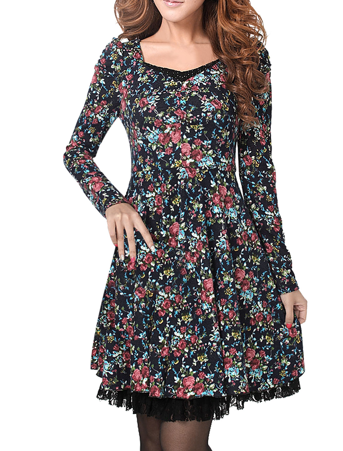 Lady Long Puff Sleeve Floral Prints Zip Up Side Dress Pink Navy Blue M