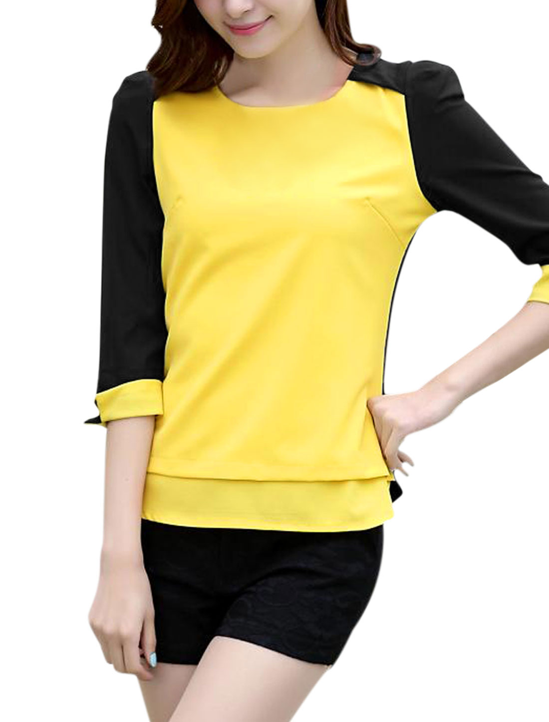 Round Neck Zipper Back Panel Roll up Cuffs Yellow M Blouse for Woman