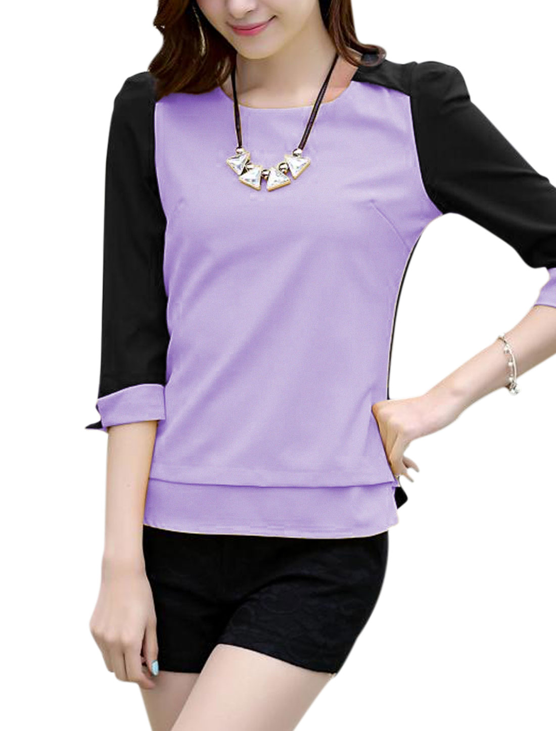 Ladies Padded Shoulders Three Quarter Sleeve Chiffon Blouse Purple M