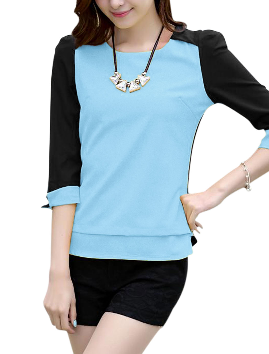 Lady's Round Neck Panel Zip Back 3/4 Sleeve Chiffon Blouse Light Blue M