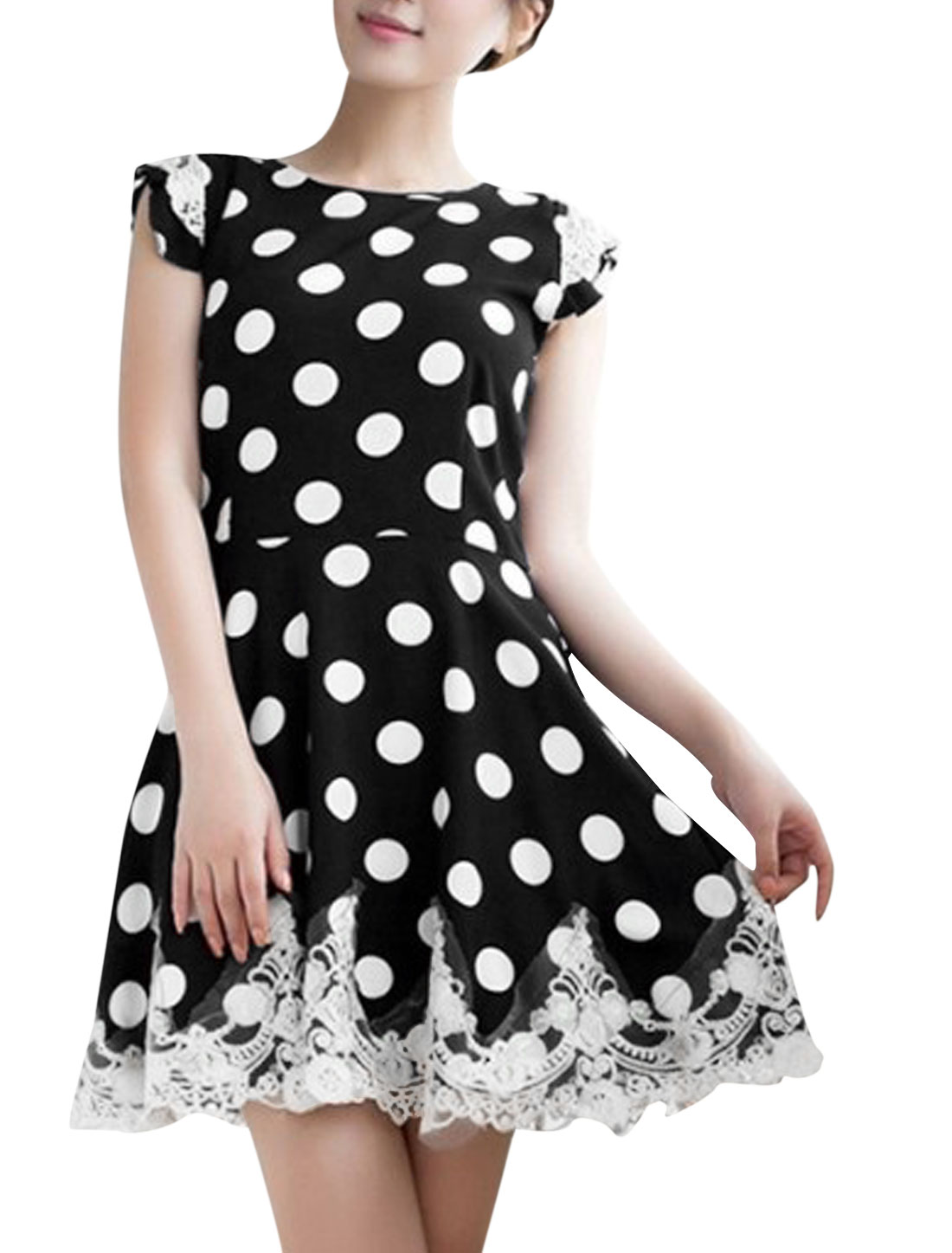 Women Cape Sleeve Dots Pattern Lace Trim Pullover Sweet Dress Black L