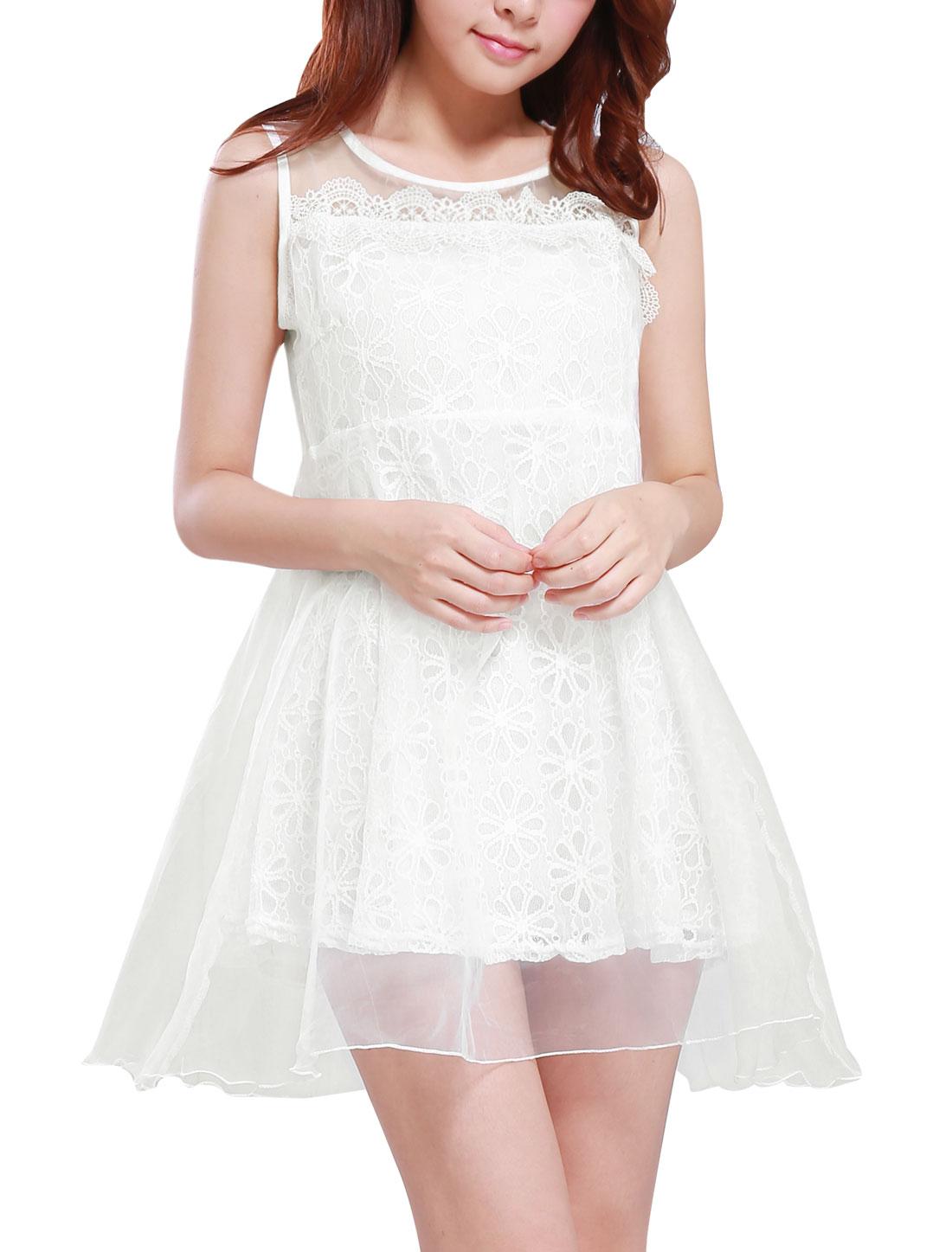 Lady Round Neck Sleeveless Organza Overlay Lace Dress White S