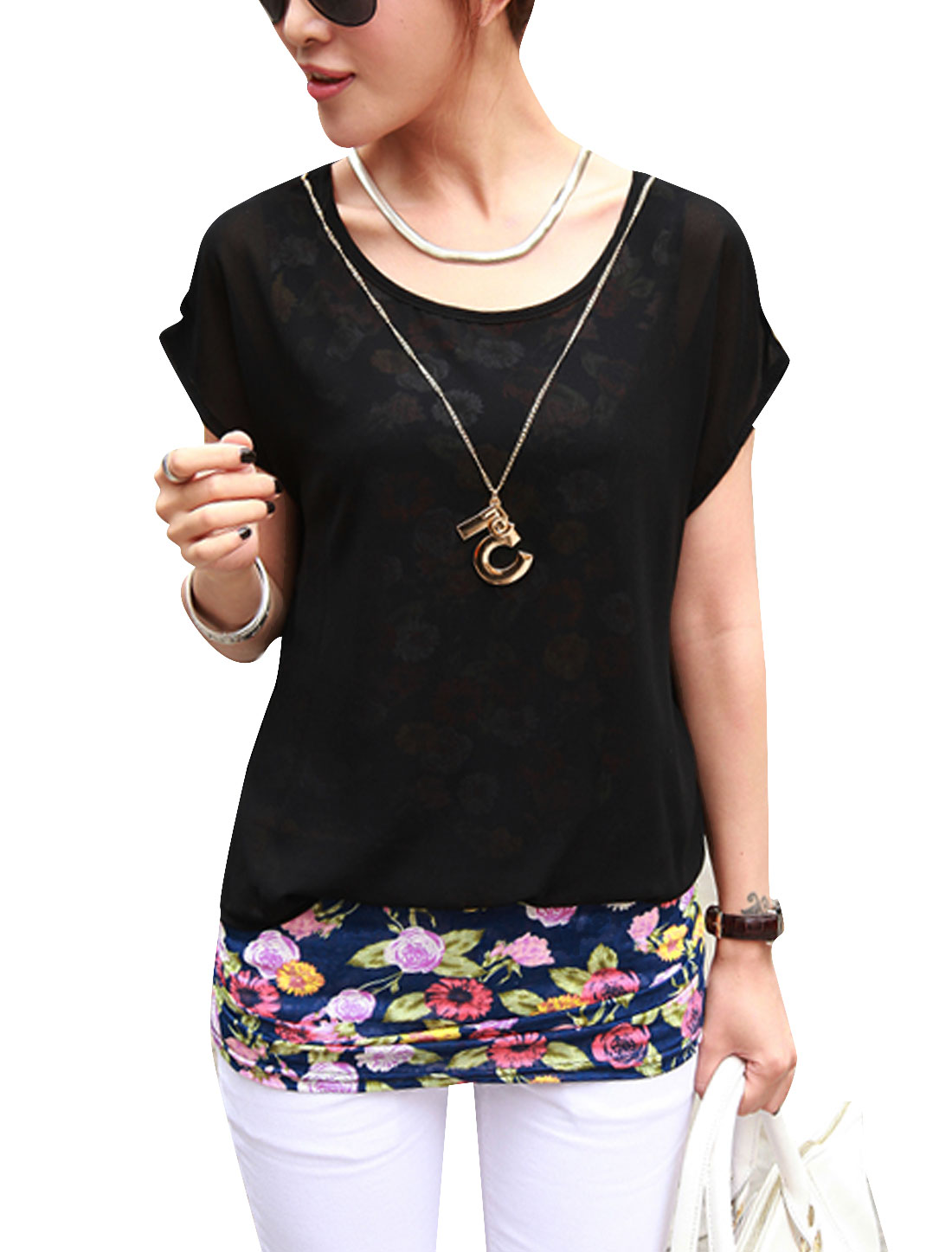 Lady Fake Two-Piece Floral Prints Tunic Top w Necklace Black S