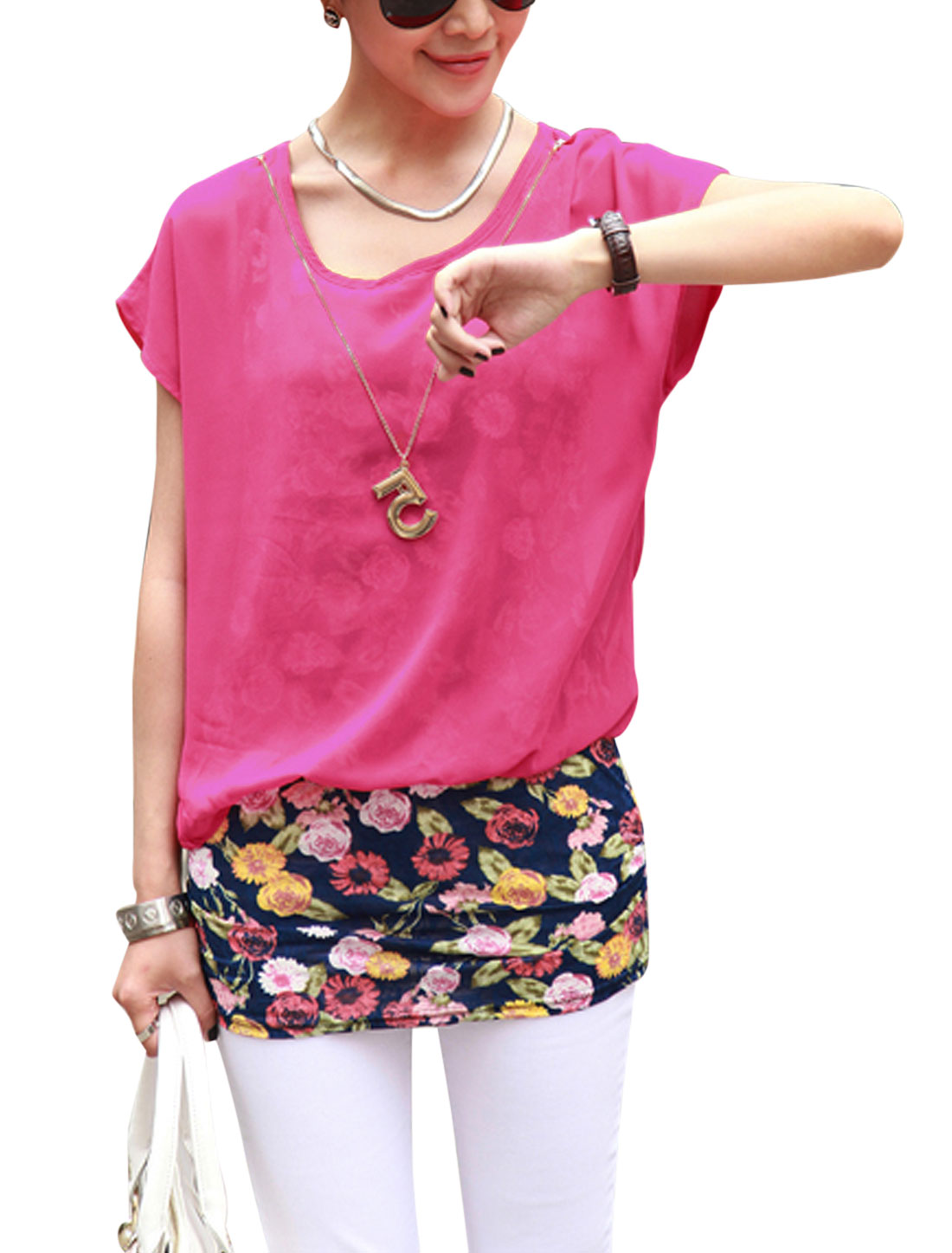 Lady Fake Two Pieces Floral Prints Tunic Top w Necklace Fuchsia S