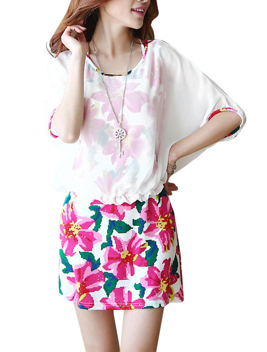 Lady Round Neck Short Bat Sleeve Floral Print Dress Multicolor M