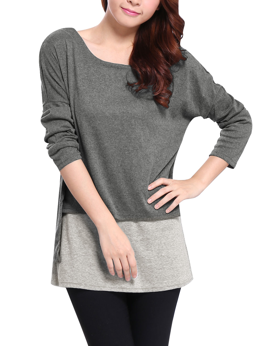 Lady Scoop Neck Long Sleeve Layered Shirts Panel Sweatshirt Gray M