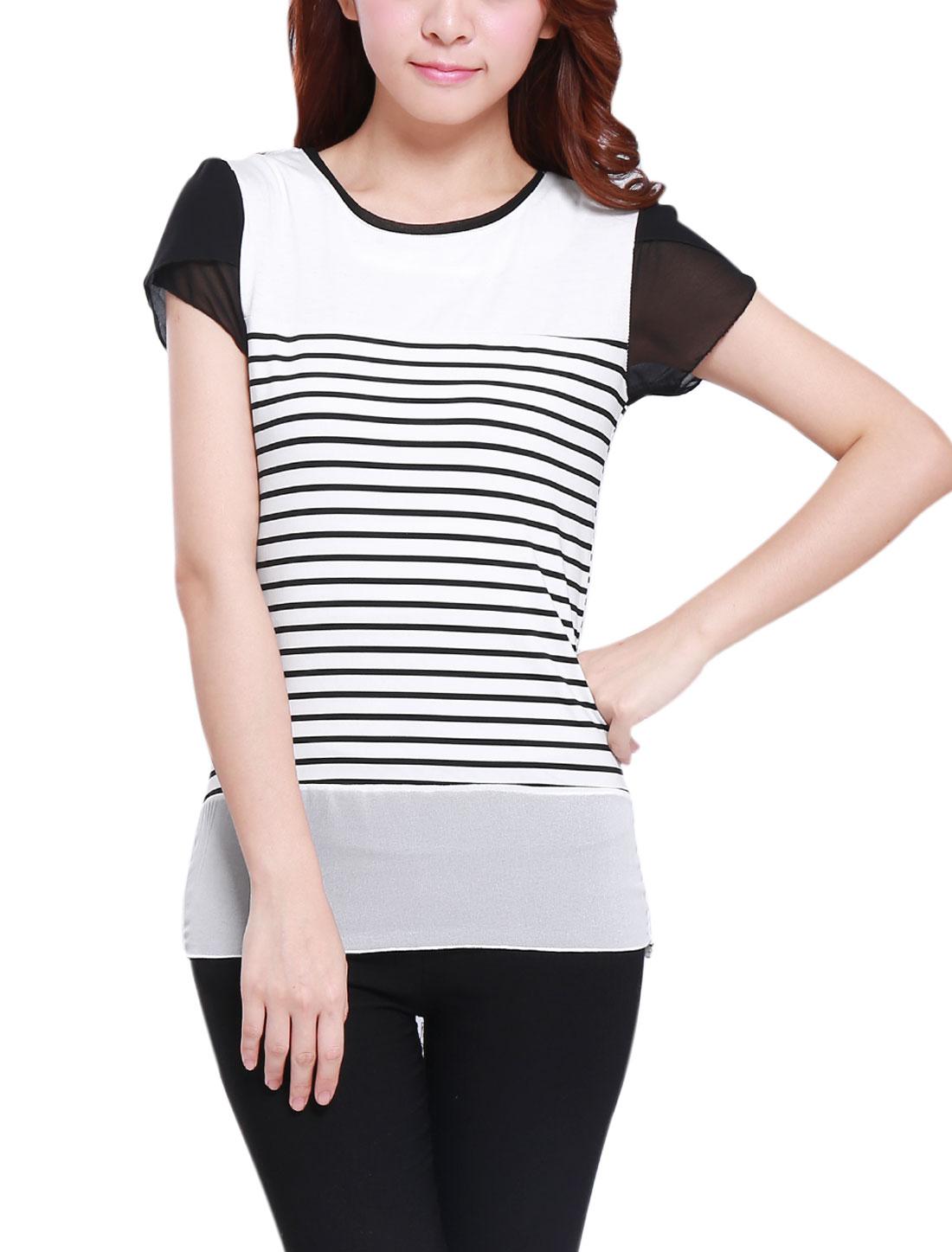 Lady Round Neck Patal Sleeve Stripes Chiffon Panel T-Shirt White Black M