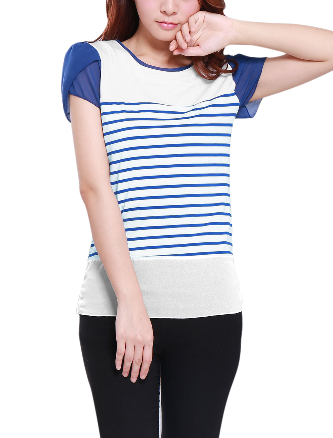Lady Pullover Patal Sleeve Stripes Chiffon Panel T-Shirt White Blue M