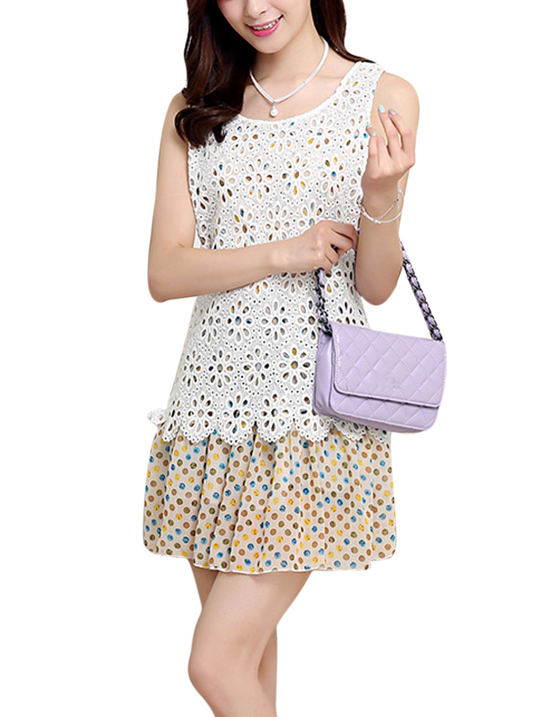 Lady Sleeveless Dots Prints Layered Design Dress White Blue M