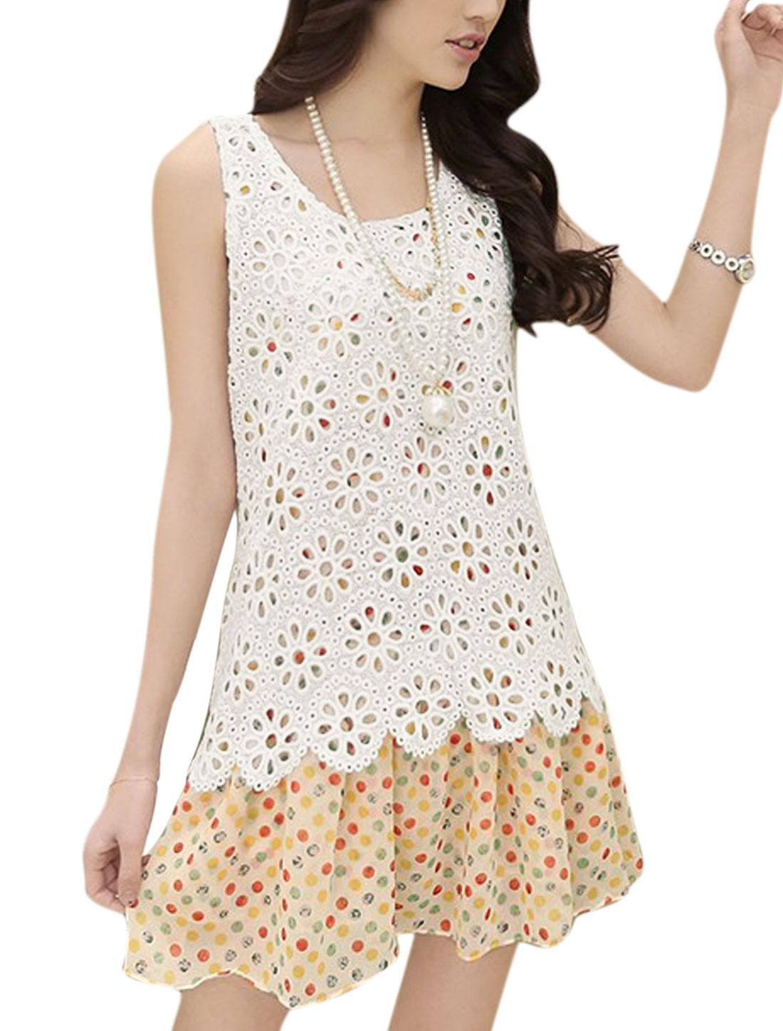 Lady Sleeveless Dots Prints Crochet Panel Dress White Red M