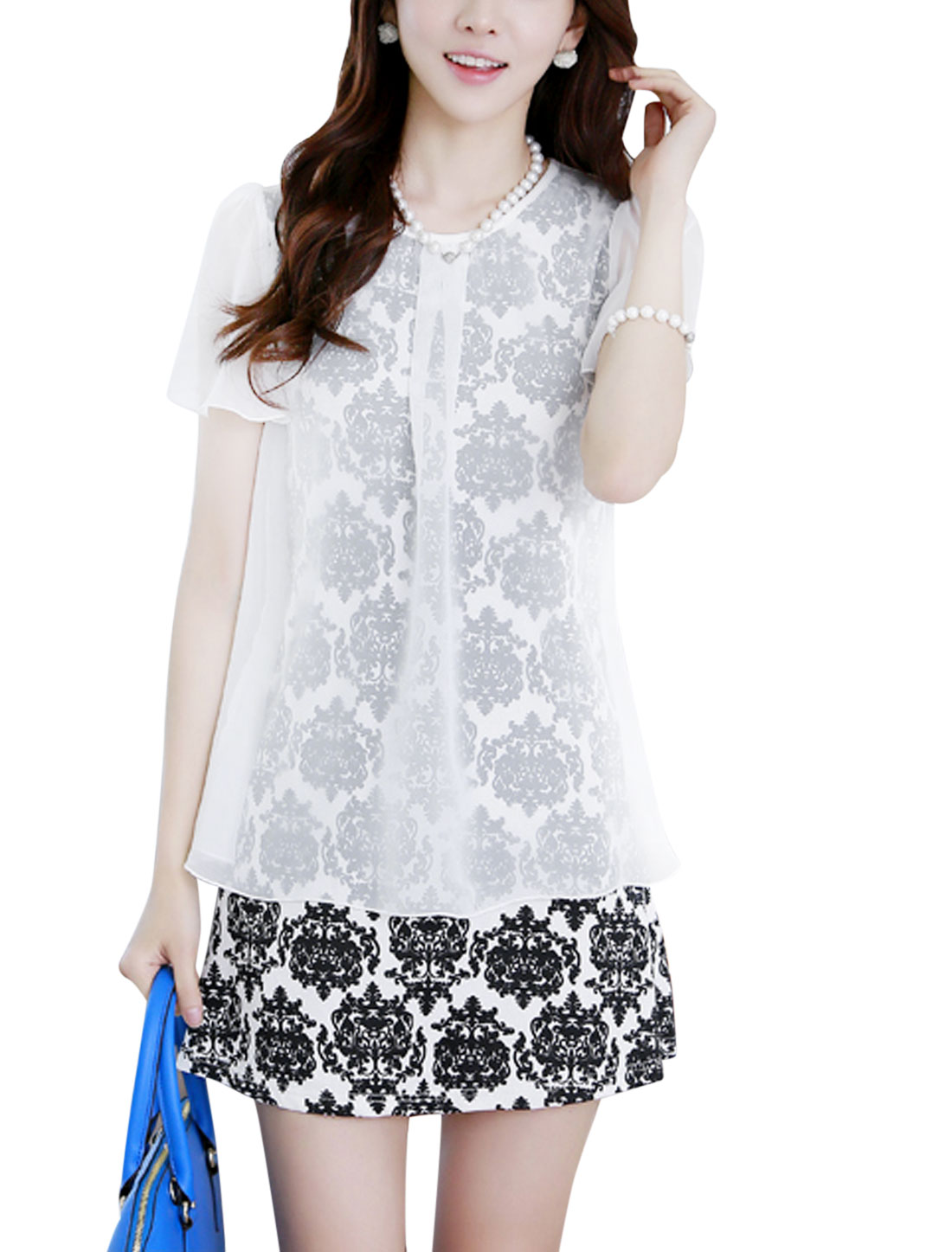Lady Chiffon Overlay Porcelain Floral Prints Dress White M