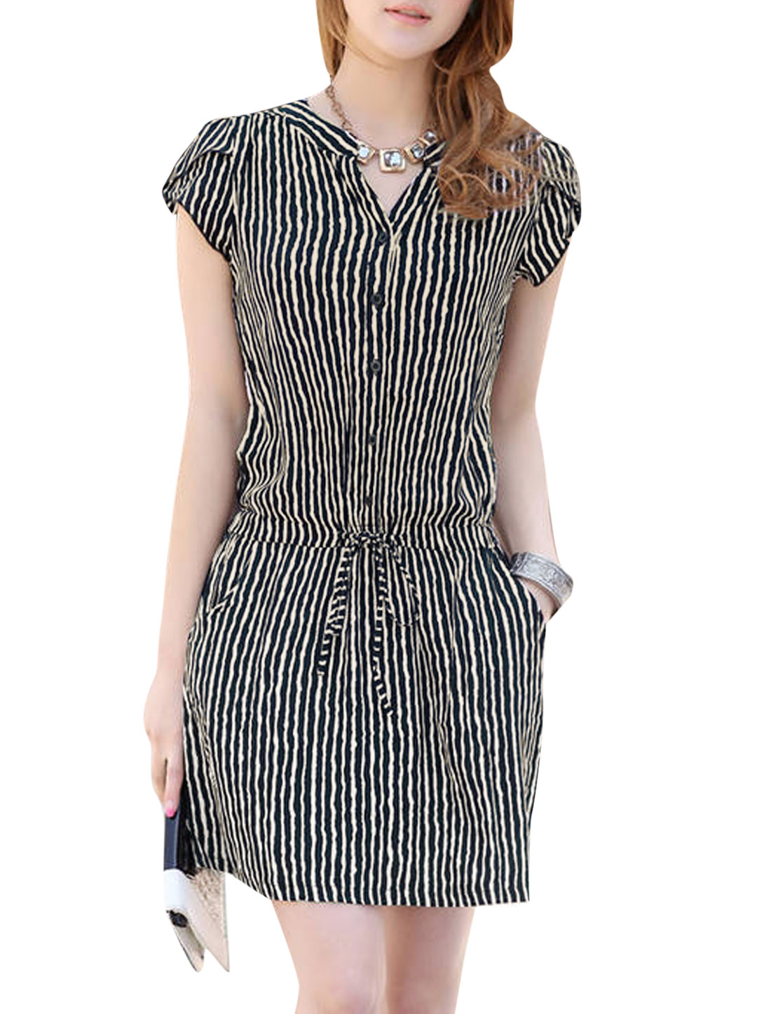 Women Split Neck Petal Sleeve Vertical Stripes Pattern NEW Dress Beige Navy Blue M