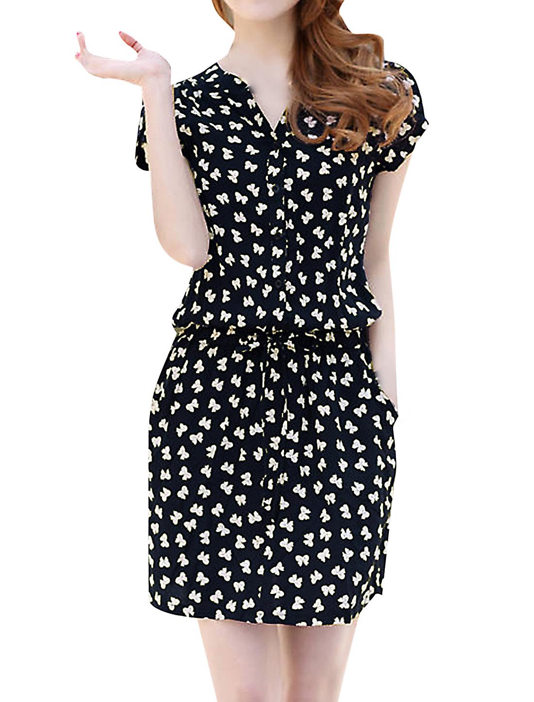 Women Petal Sleeve Slant Pockets Bowknot Pattern NEW Dress Navy Blue M
