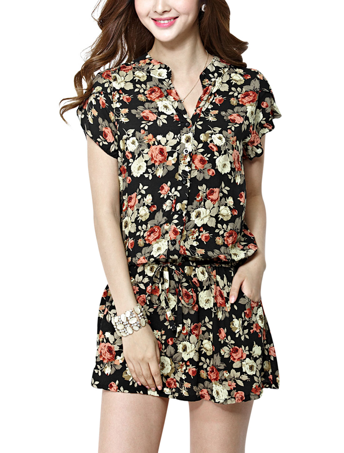 Lady Split Neck Petal Sleeve Floral Prints Shirt Dress Multicolor M