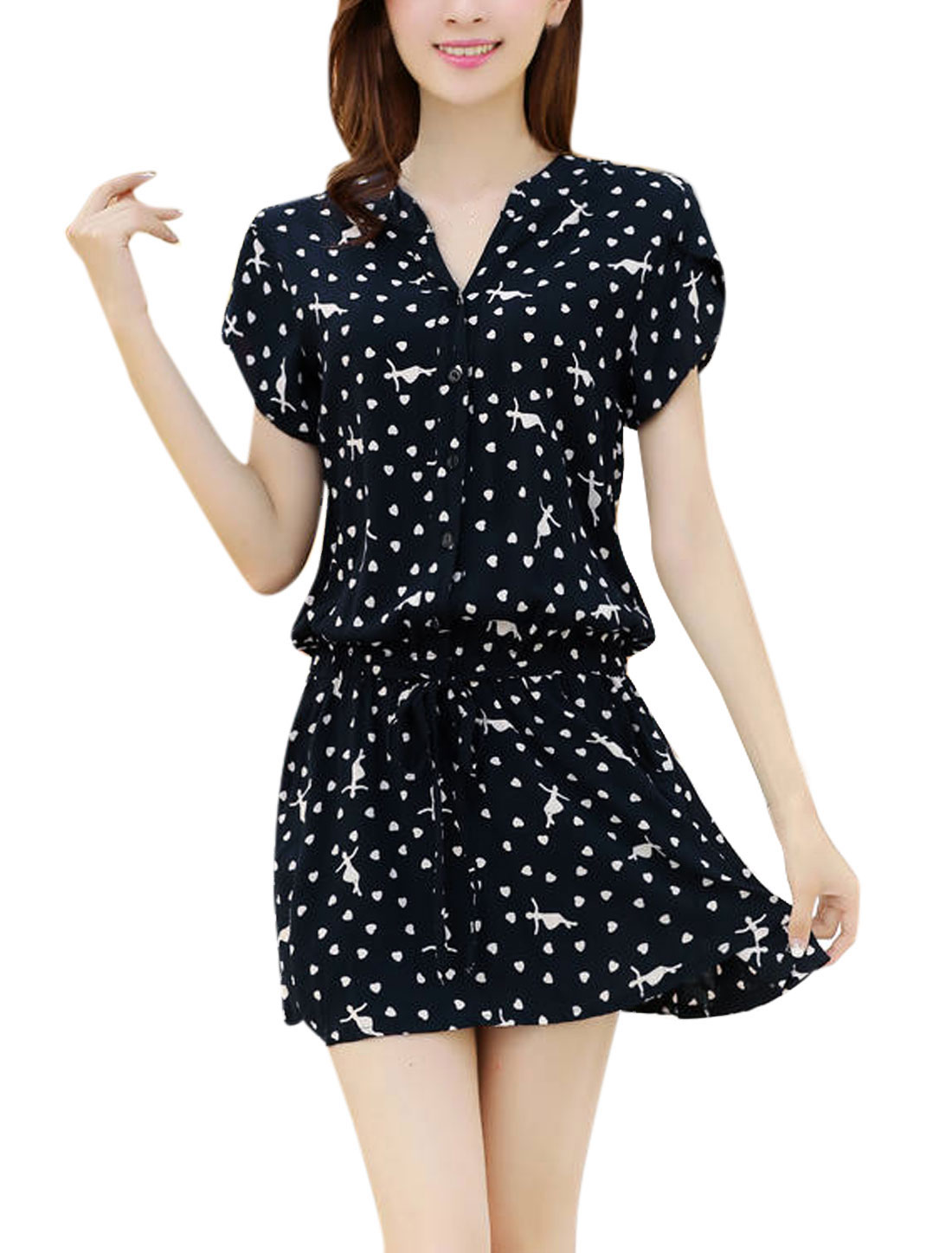 Lady Split Neck Hearts Cartoon Figure Pattern Sweet Dress Navy Blue M